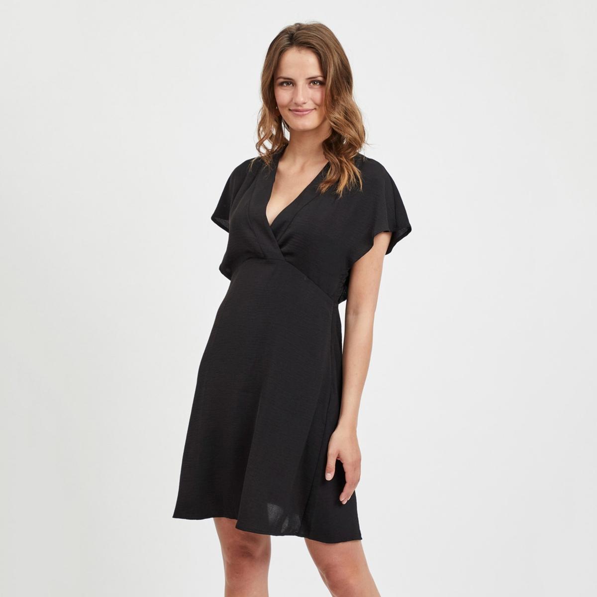 Платье La Redoute Короткое расклешенное с короткими рукавами 34 (FR) - 40 (RUS) черный платье la redoute короткое прямое с короткими рукавами 42 fr 48 rus черный