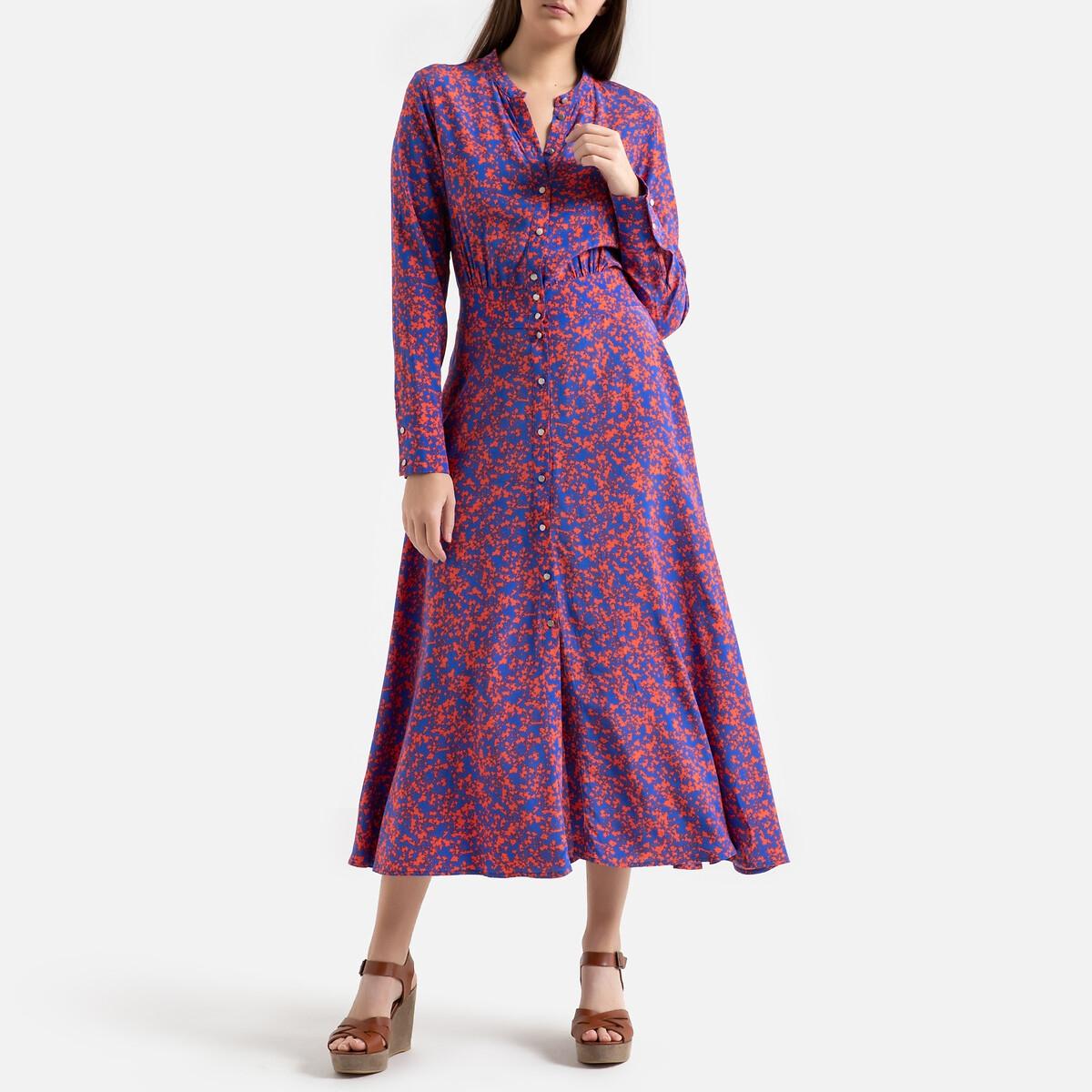 Платье La Redoute Длинное на пуговицах CAPUCINE 0(XS) синий