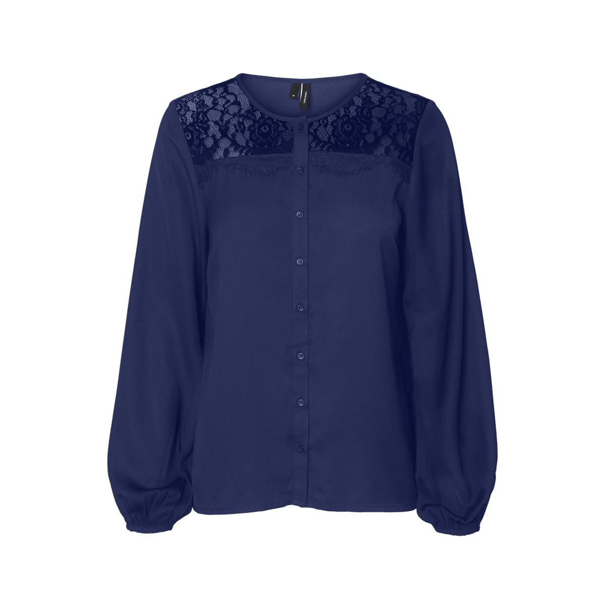 Блузка La Redoute С круглым вырезом и длинными рукавами XS синий блузка la redoute с круглым вырезом цветочным рисунком и длинными рукавами s черный