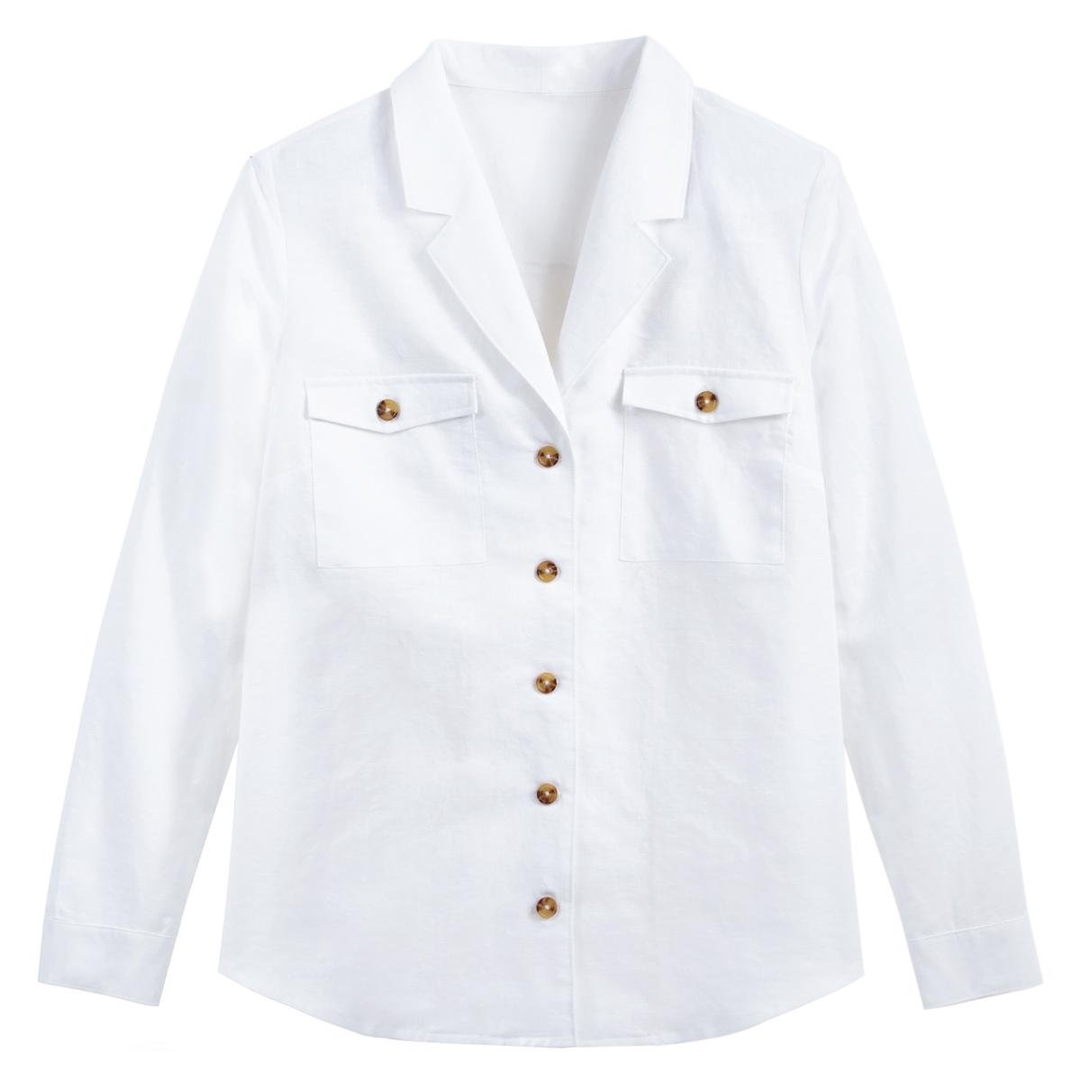 Camisa con cuello sastre, de lino mezclado