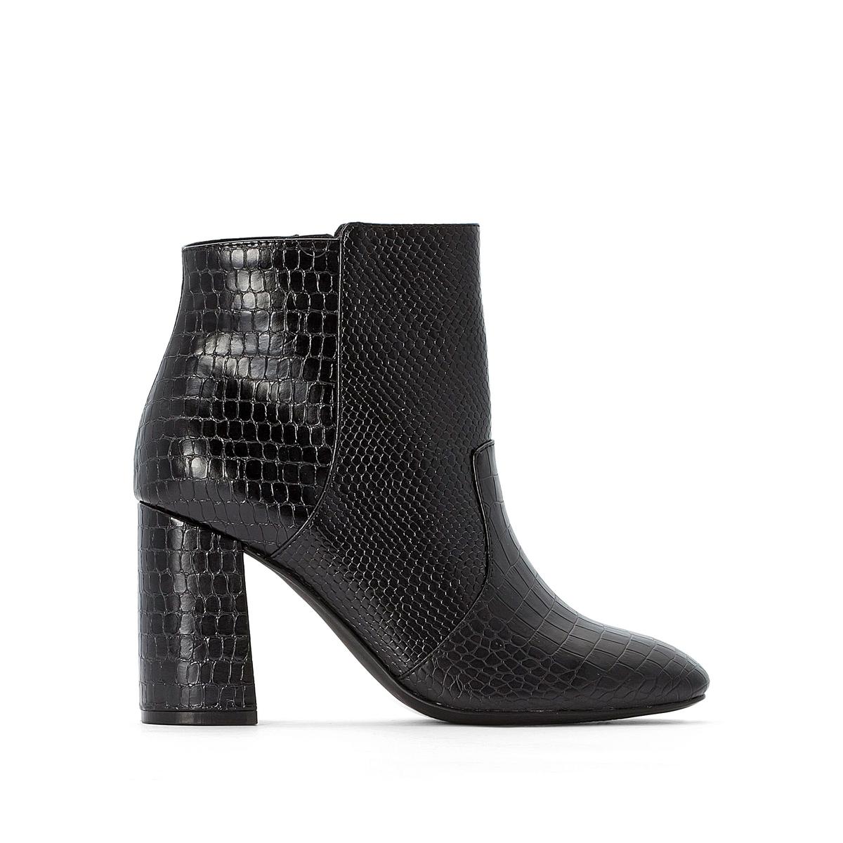 цена Сапоги La Redoute Из двух материалов на квадратном каблуке 36 черный онлайн в 2017 году