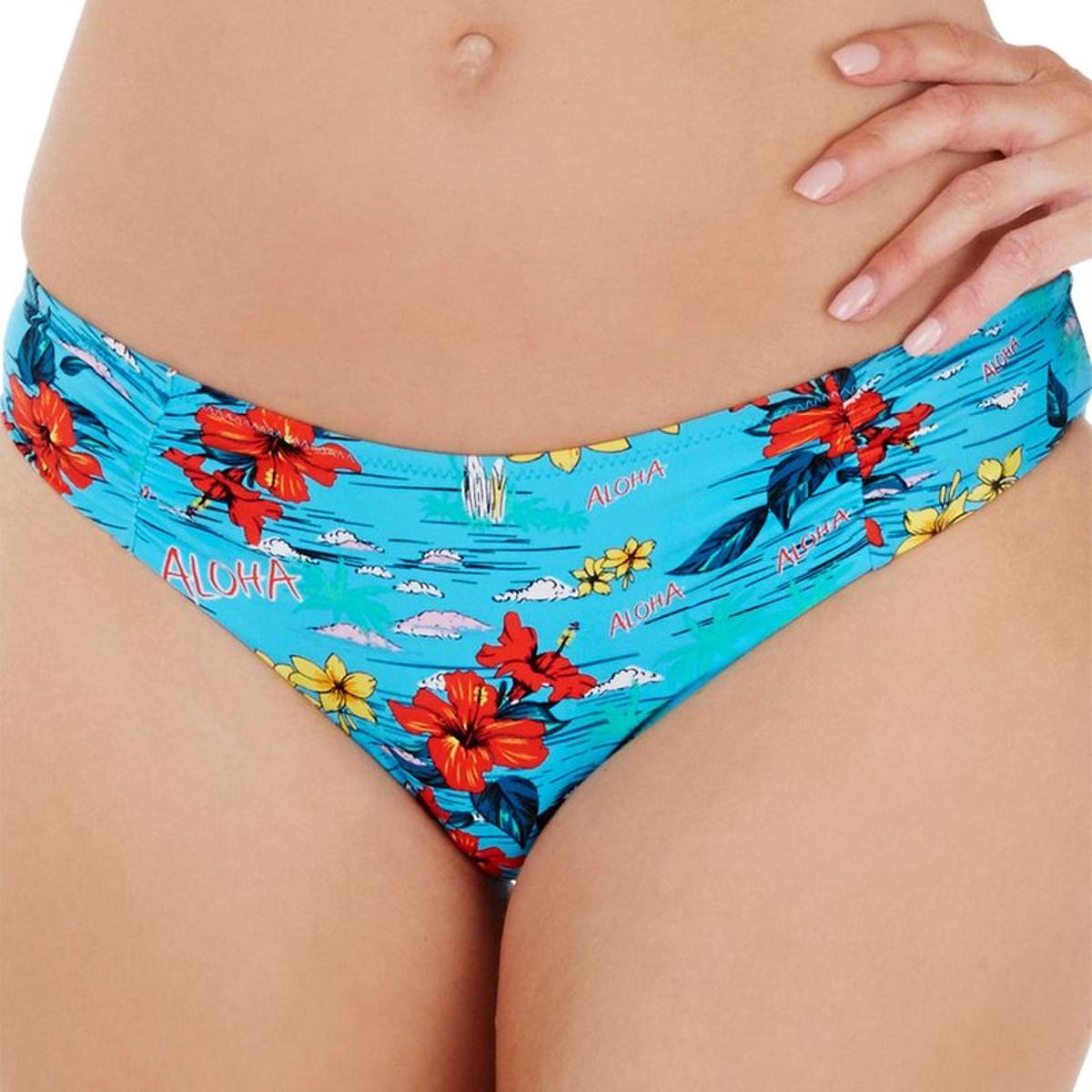 Slip de bain taille basse Audelle ALOHA flower multi print XXL
