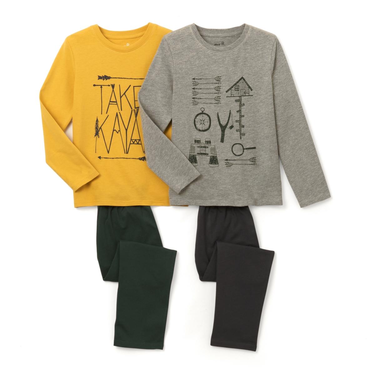 2 пижамы с принтом 2-12 летПижама: футболка с длинными рукавами и брюки. В комплекте 2 пижамы : Футболки с разными рисунками  . Брюки однотонные с эластичными поясами.Состав и описание :    Материал       Джерси 100% хлопок  (кроме цвета серый меланж: преимущественно из хлопка).  Уход: : - Машинная стирка при 30°C с вещами схожих цветов. Стирать, сушить и гладить с изнаночной стороны. Машинная сушка в умеренном режиме. Гладить на низкой температуре.<br><br>Цвет: Желтый + серый<br>Размер: 12 лет -150 см.10 лет - 138 см.8 лет - 126 см.6 лет - 114 см.5 лет - 108 см.4 года - 102 см.3 года - 94 см