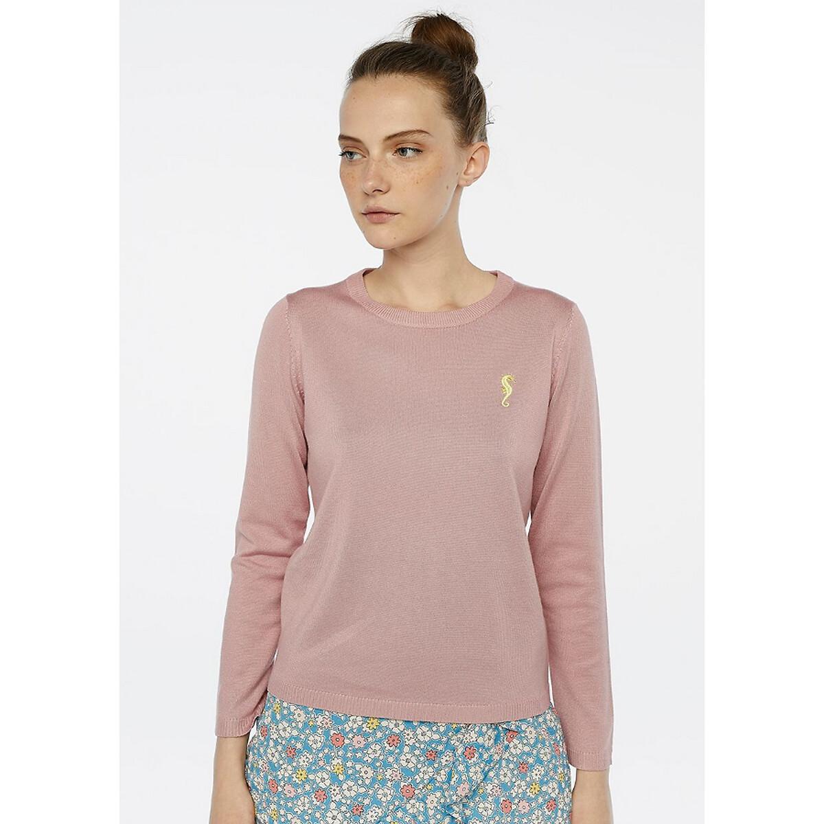 Пуловер La Redoute С круглым вырезом с вышивкой на груди S розовый сумка la redoute кожаная маленькая с клапаном с вышивкой uni розовый