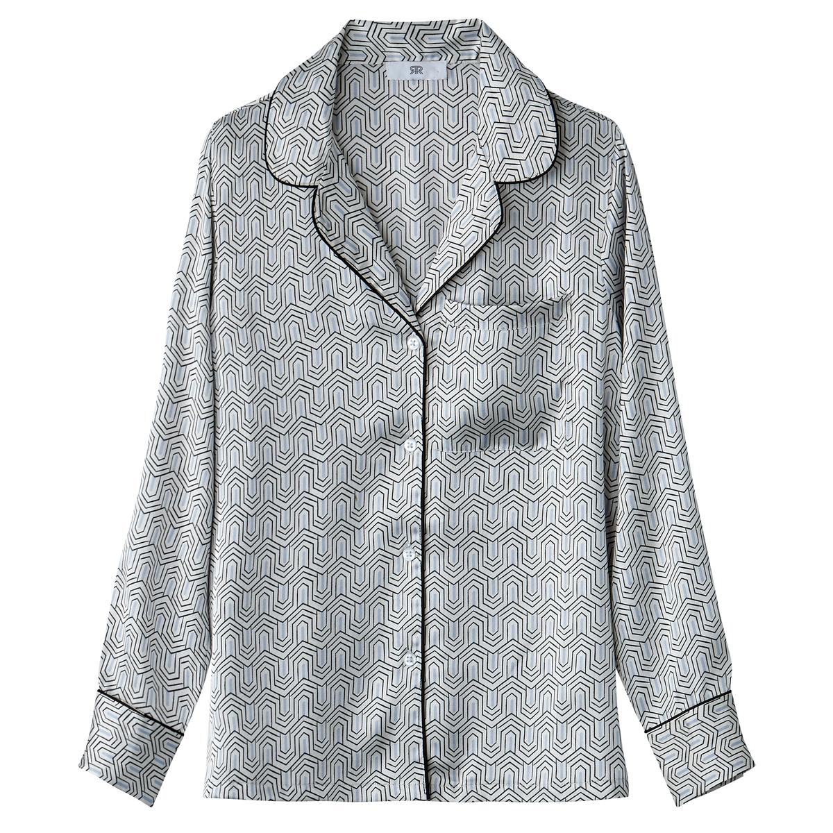 Camisa satinada con cuello sastre y estampado geom