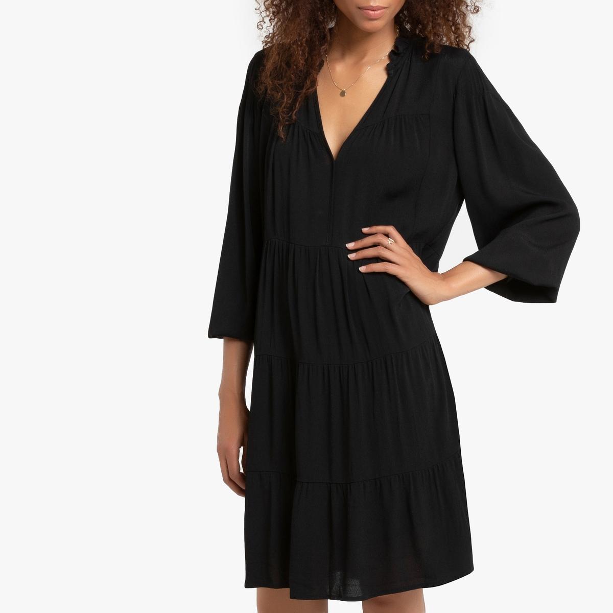 цена Платье La Redoute Короткое расклешенное с длинными рукавами с V-образным вырезом 1(S) черный онлайн в 2017 году