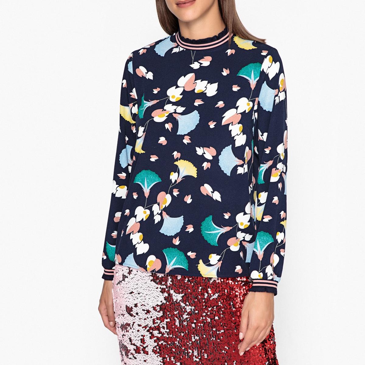 Блузка с рисунком, воротником-стойкой и длинными рукавами RORY блузка с рисунком из струящейся ткани