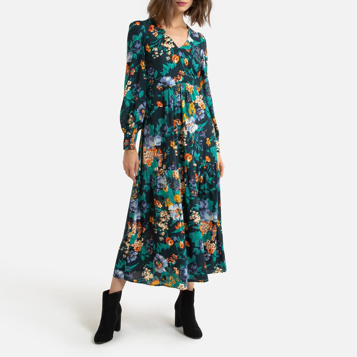 Платье LaRedoute Длинное с запахом и цветочным принтом 36 (FR) - 42 (RUS) зеленый