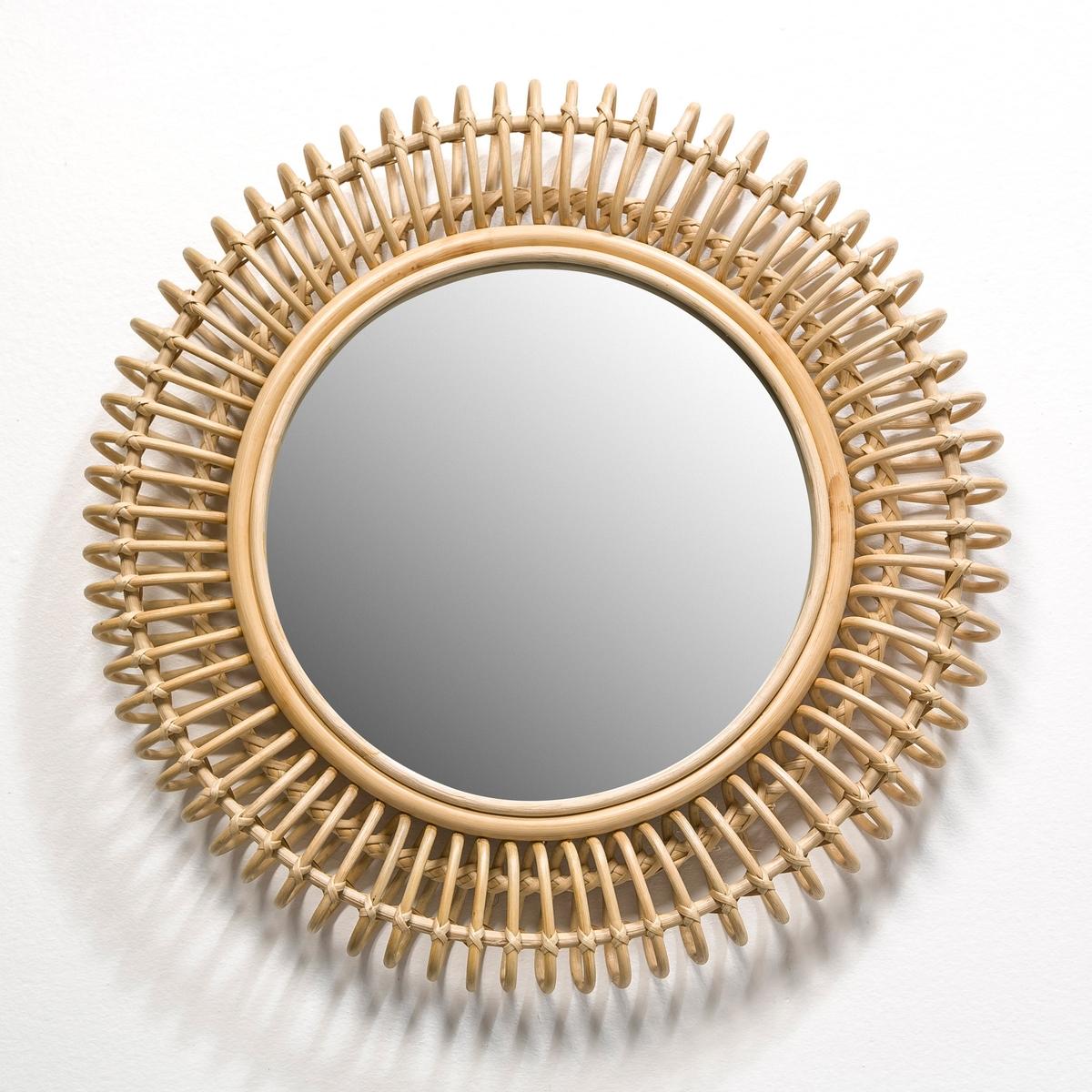 Зеркало круглое из ротанга Tarsile ?60 смЗеркало круглое из ротанга Tarsile.Характеристики: : - Из ротанга.Размеры :- Дл60 x В8 см .- Размеры зеркала : Диаметр 35 см<br><br>Цвет: серо-бежевый,черный<br>Размер: единый размер
