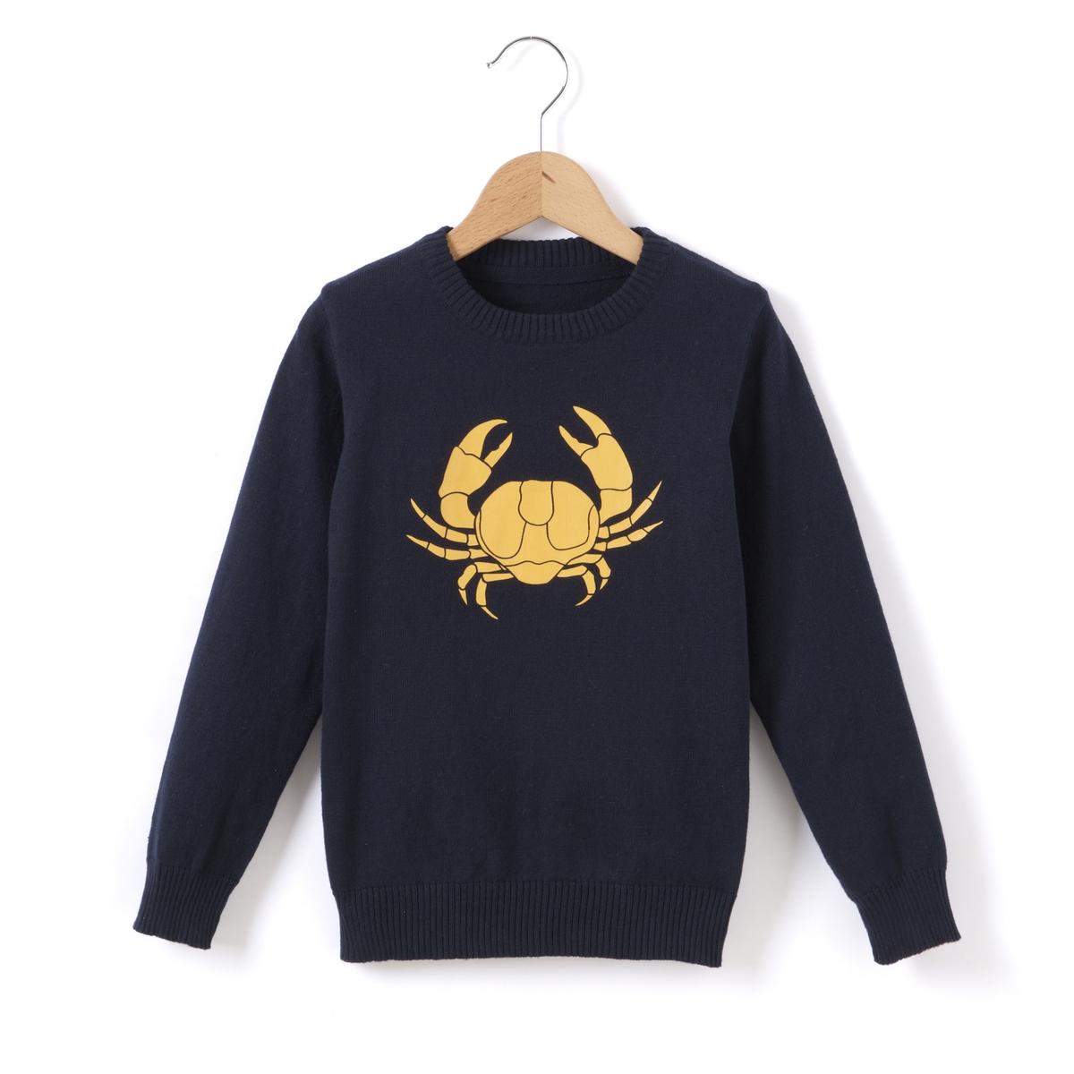 Пуловер с рисунком краб 3 - 12 лет