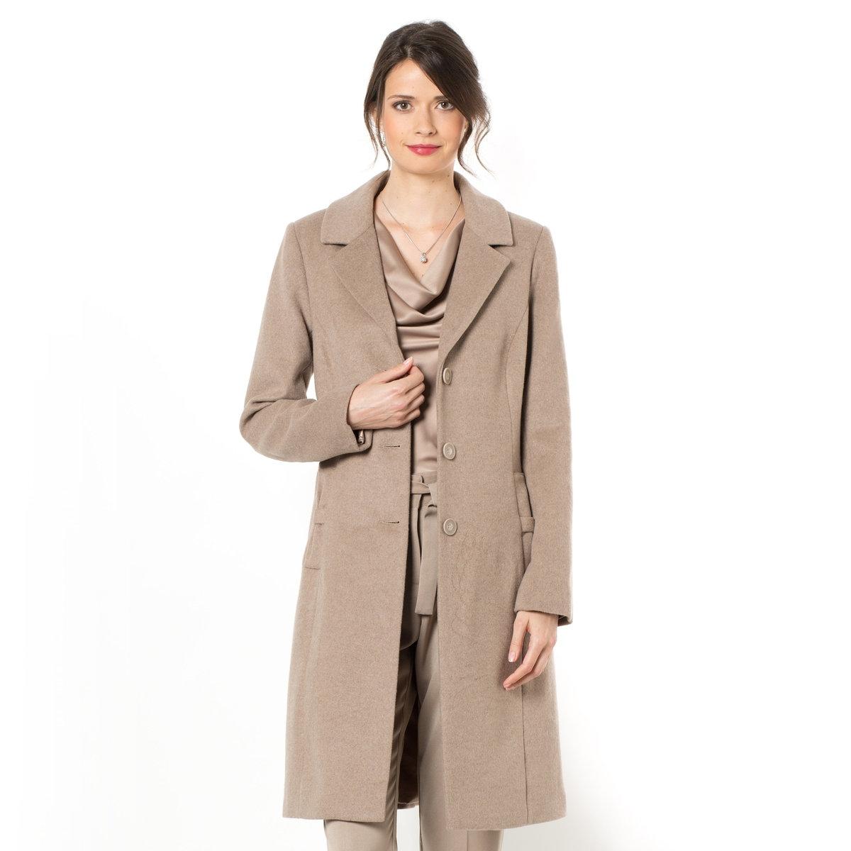 Пальто, 55% шерстиИдеальный покрой - утонченный и элегантный. Английский воротник. Женственность линий создается выточками спереди и сзади. Длинные рукава с плечиками. Карманы с оригинальными бантами. Оригинальный бант по середине спины. Длина 94 см. Подкладка из полиэстерного атласа. Шерстяной драп, 55% шерсти, 30% полиэстера, 10% вискозы, 5% других волокон.<br><br>Цвет: розовая пудра,серо-коричневый каштан<br>Размер: 50 (FR) - 56 (RUS).44 (FR) - 50 (RUS)
