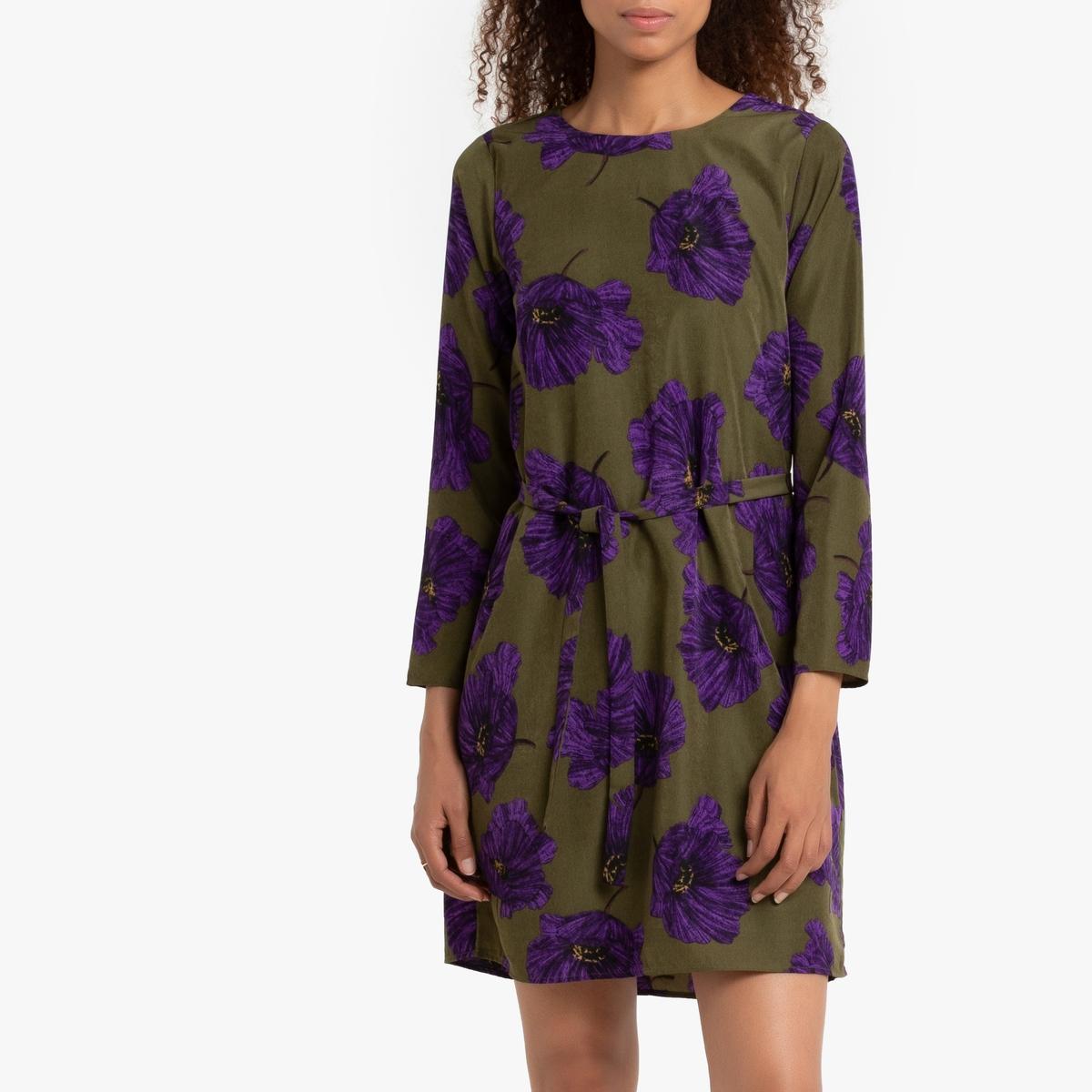 Платье La Redoute Короткое расклешенное с цветочным рисунком и ремешком L зеленый
