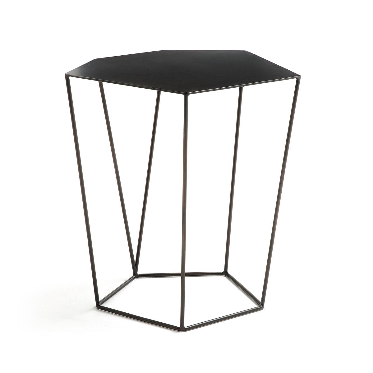 Столик журнальный металлический, В50 см, DisicoleЖурнальный столик Disicole. Оригинальная шестиугольная столешница. Сочетается со столиком  В40 см Disicole, продающимся на нашем сайте.Характеристики :- Из металла с состаренным эффектом- Поставляется в собранном видеРазмер :- Ш.46,7 x В.50 x Г.38,2 см, 6 кгРазмеры и вес упаковки:- Ш.58,1 x В.56,5 x Г.49,5 см, 11,5 кг<br><br>Цвет: темно-серый металл