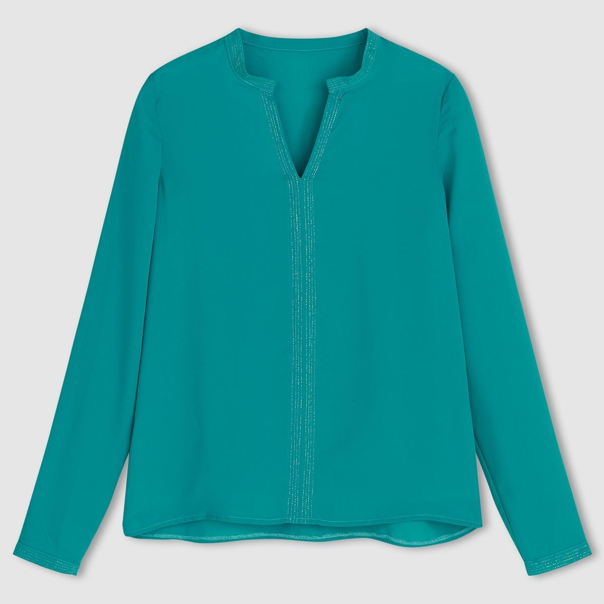 Блузка однотонная с длинными рукавамиОднотонная блузка. Маленький воротник мао. Длинные рукава. 100% полиэстера . Прострочка металлизированными нитями. Длина 59 см.<br><br>Цвет: Голубая лагуна,слоновая кость<br>Размер: 48 (FR) - 54 (RUS).46 (FR) - 52 (RUS)