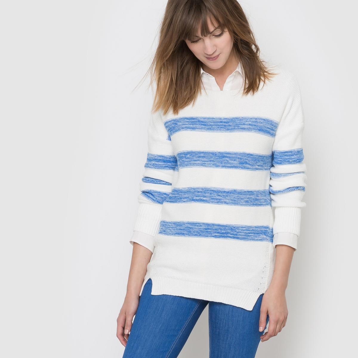 Пуловер в полоску из трикотажа мулинеСостав и описаниеМатериал : 100% хлопокРазмер : около 70 смУход Машинная стирка при 30 °С<br><br>Цвет: белый/ синий<br>Размер: 42/44 (FR) - 48/50 (RUS)