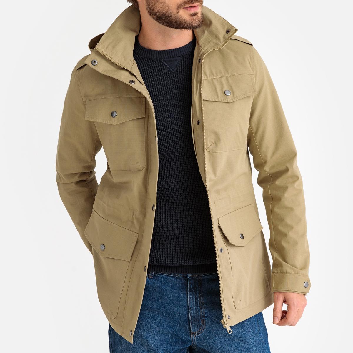 Куртка La Redoute В стиле милитари с карманами и капюшоном M зеленый