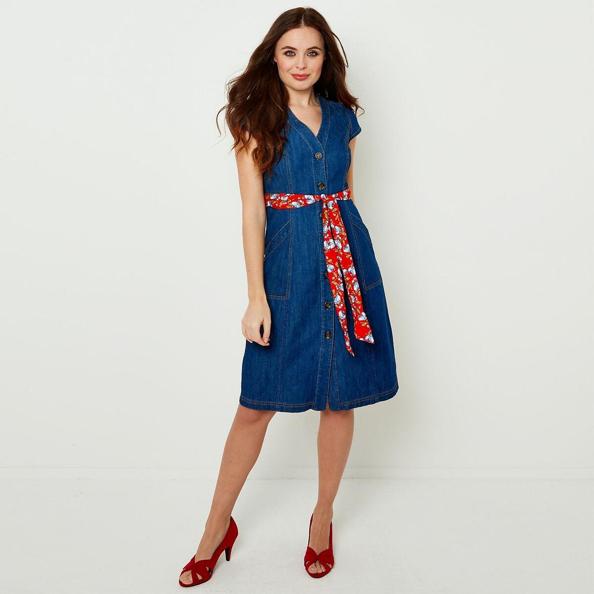 Платье La Redoute Джинсовое на пуговицах бантик на поясе 36 (FR) - 42 (RUS) синий