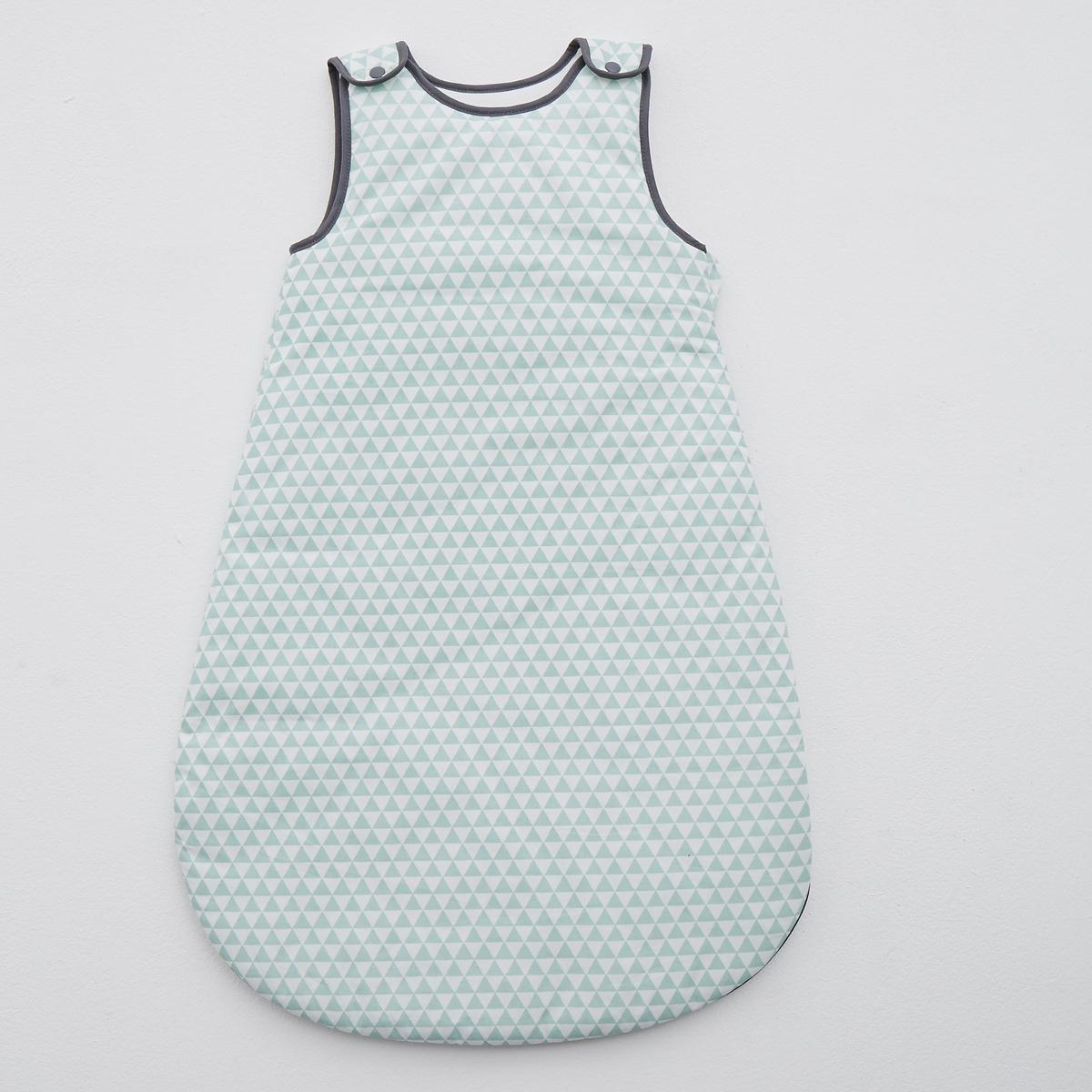 Конверт с геометрическим орнаментом из хлопковой перкали<br><br>Цвет: синий/белый<br>Размер: 0/9 mois.12 - 36 мес. - 71см - 94см