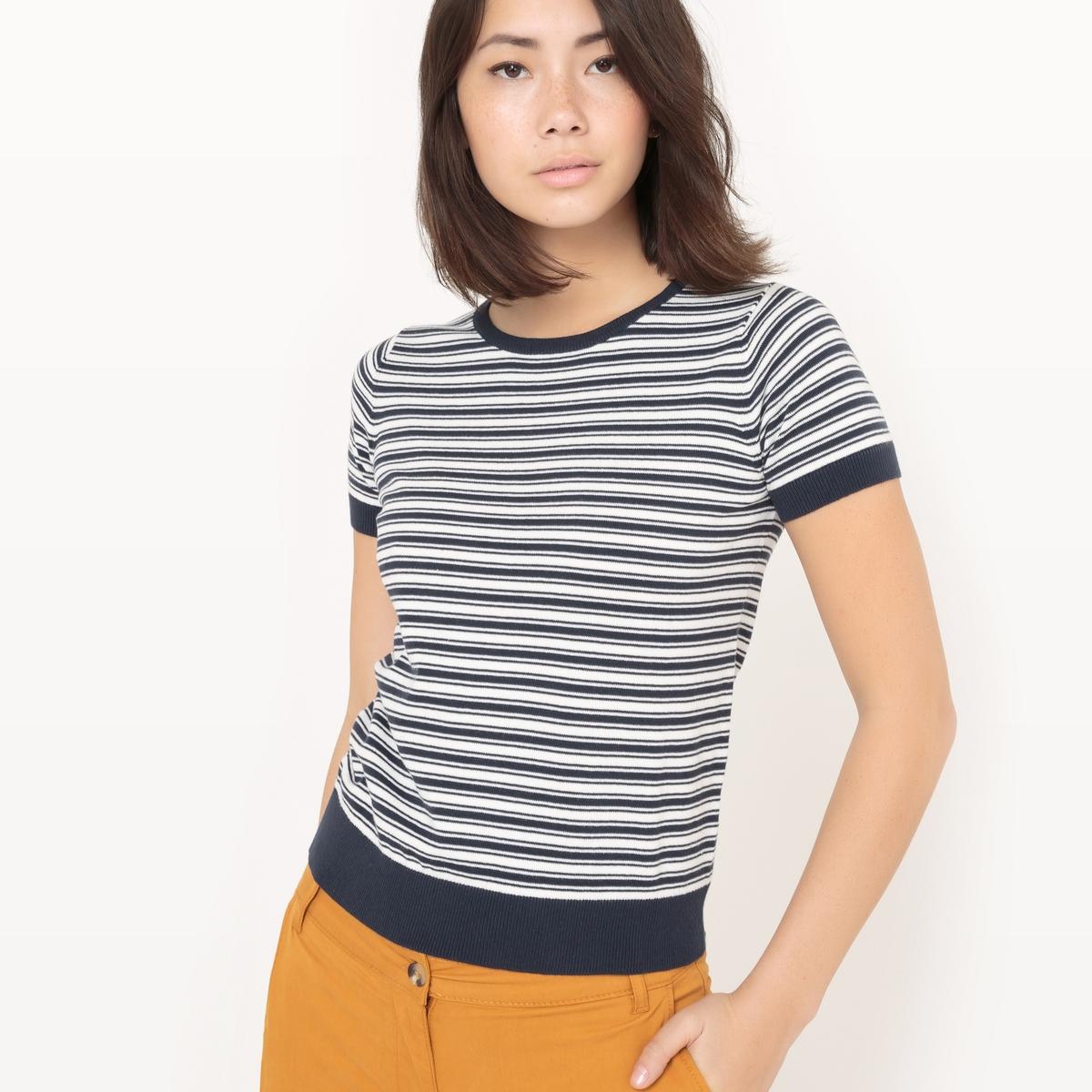 Пуловер в полоску с короткими рукавами