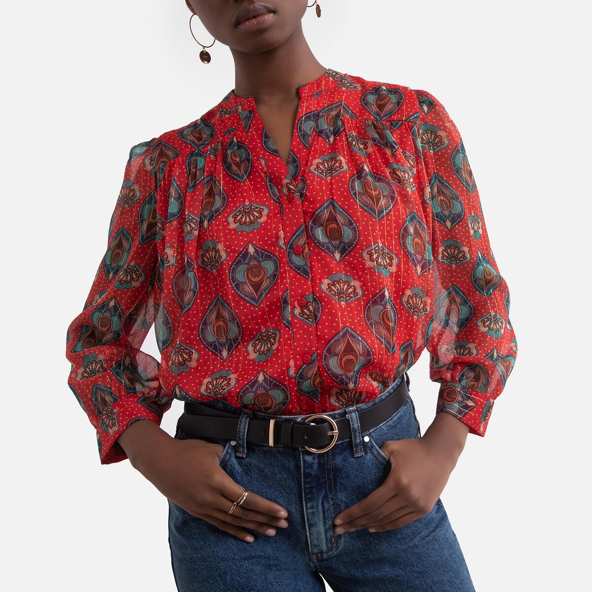 Блузка LaRedoute С рисунком воротником-стойкой и длинными рукавами S красный