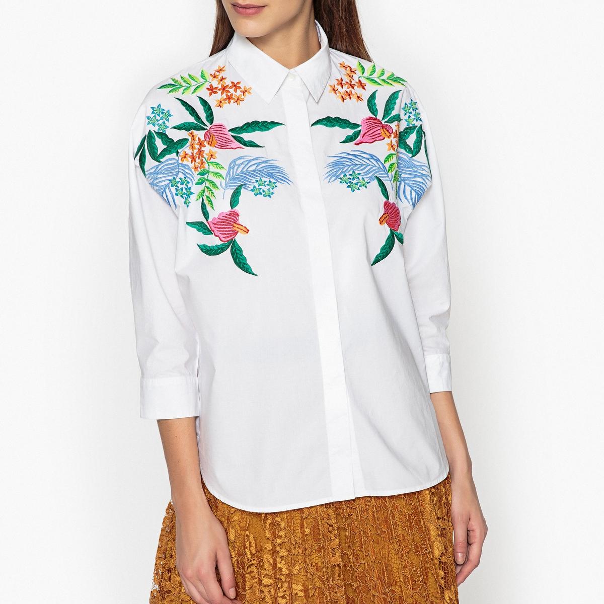 Рубашка с вышивкой OXLEYEMBOОписание:Рубашка с вышивкой ESSENTIEL ANTWERP - модель OXLEYEMBO : яркие цвета в сочетании с рисунком в тропическом стиле .Детали •  Рукава 3/4 •  Воротник-поло, рубашечныйСостав и уход •  100% хлопок •  Следуйте советам по уходу, указанным на этикетке •  Свободный покрой •  Супатная застежка на пуговицы  •  Закругленный низ спереди и сзади  •  Манжеты на пуговицах •  Воротник со свободными кончиками<br><br>Цвет: белый,небесно-голубой
