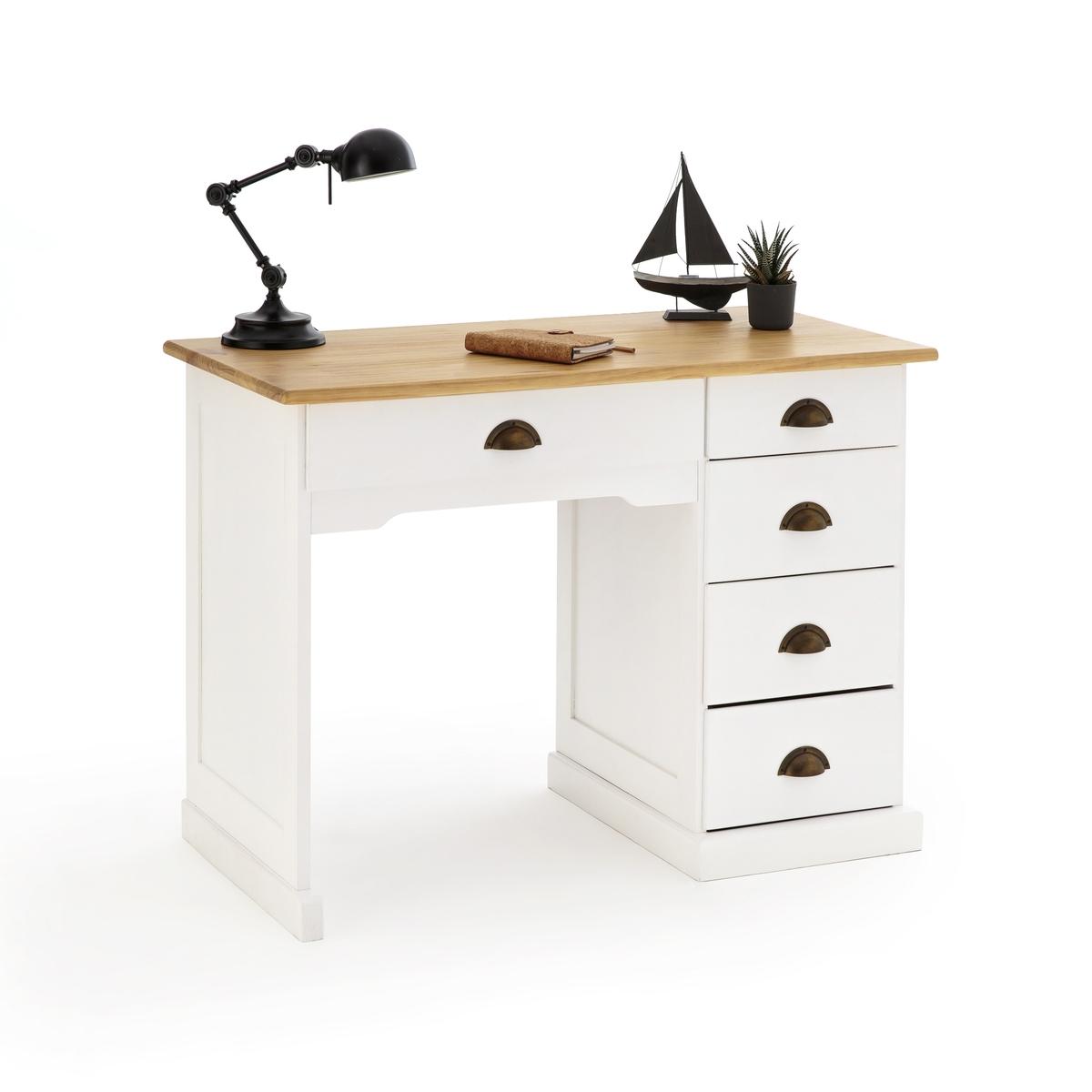 Стол La Redoute Письменный из массива сосны BETTA с тумбой единый размер белый стол письменный из массива сосны gaby