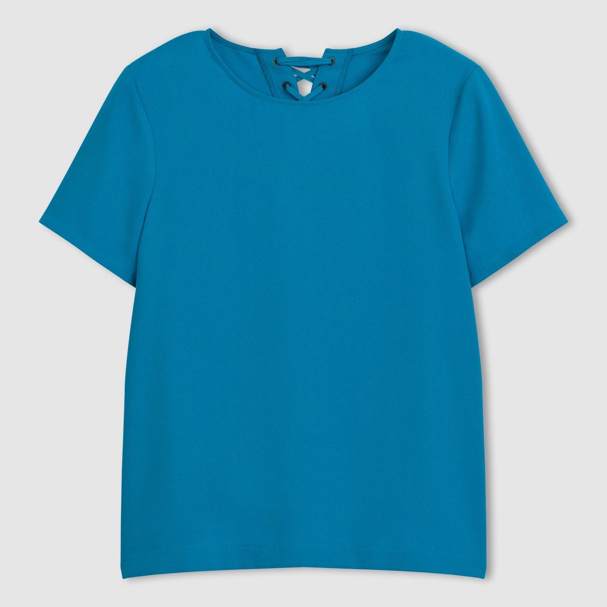 Блузка со шнуровкой сзади, короткие рукаваБлузка . 100% полиэстера.  Короткие рукава. Круглый вырез. Шнуровка сзади.  Длина: 62 см.<br><br>Цвет: ярко-синий<br>Размер: 34 (FR) - 40 (RUS)