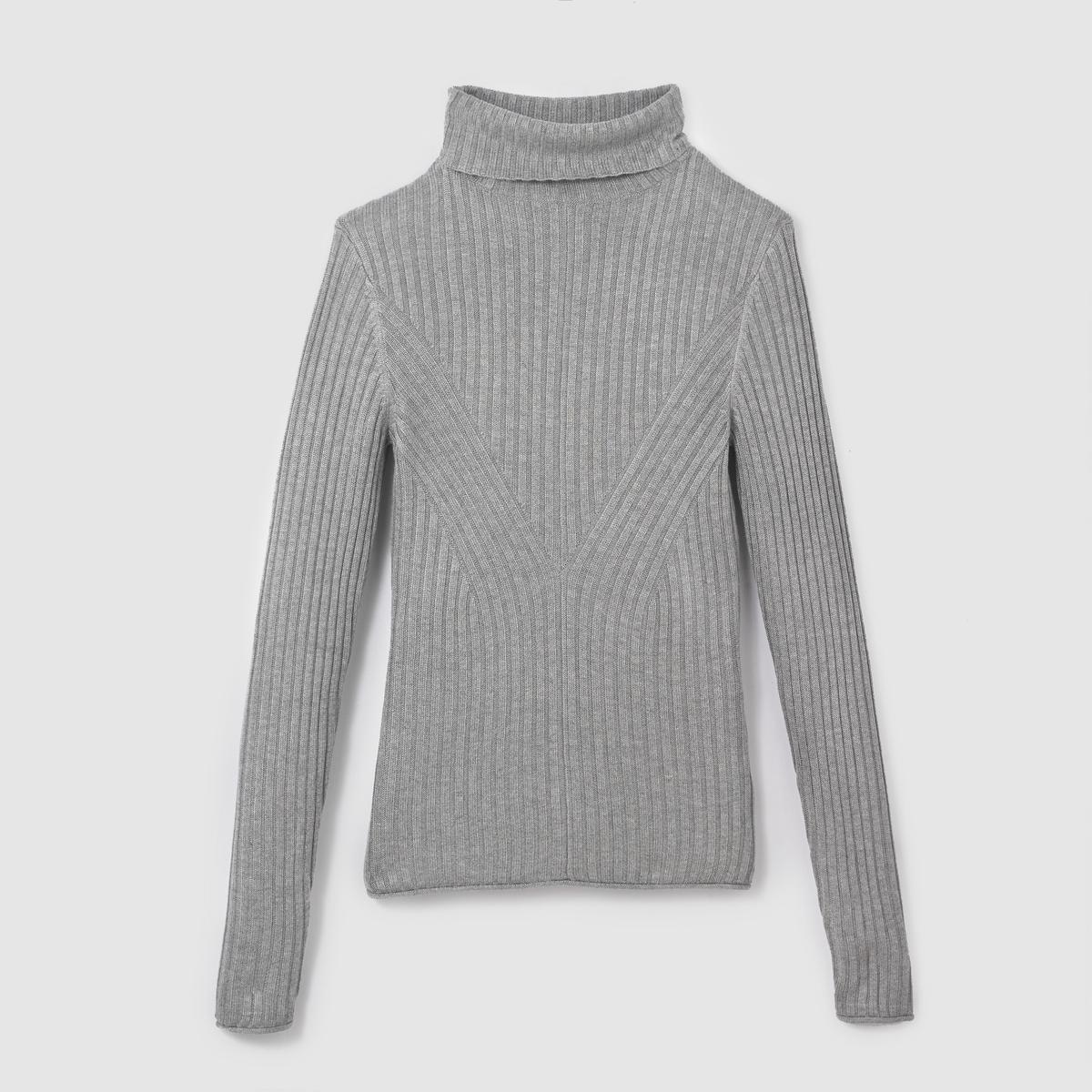 Пуловер облегающийПуловер с длинными рукавами TOM TAILOR . Пуловер очень облегающего покроя, в рубчик . Высокий воротник. Состав и описание :Материал : 80% растительных волокон, 20% полиамидаМарка : TOM TAILOR.<br><br>Цвет: серый меланж