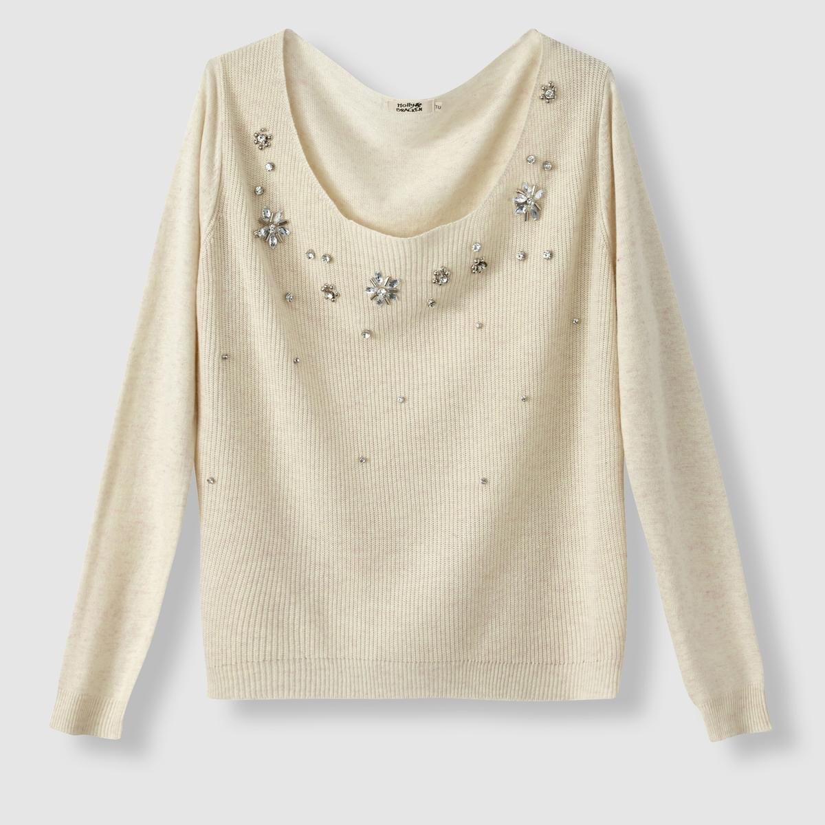 Пуловер с вышивкой, круглый вырезПуловер с длинными рукавами  MOLLY BRACKEN. Пуловер комфортного прямого покроя. Круглый вырез. Оригинальные вставки с вышивкой на декольте . Состав и описание :Материал : 55% растительных волокон, 45% полиэстера Марка : MOLLY BRACKEN.<br><br>Цвет: черный,экрю<br>Размер: единый размер