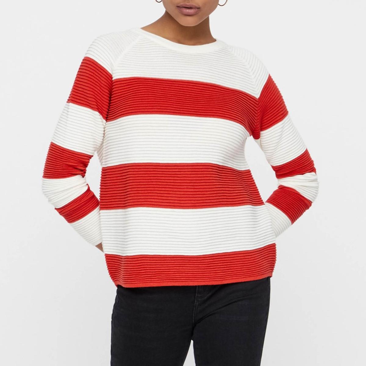 цена Пуловер La Redoute В широкую полоску с круглым вырезом и застежкой на пуговицы сзади XS белый онлайн в 2017 году