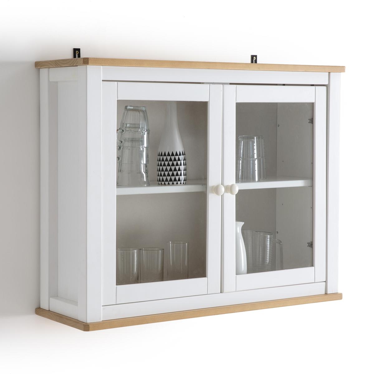 Полка-витрина из массива сосны, ALVINAВитрина Alvina : полка-витрина Alvina идеальна для хранения специй, бокалов, посуды или безделушек. Она легко найдет свое место на кухне и защитит содержимое от пыли, не скрывая его.Описание полки-витрины Alvina :1 регулируемая внутренняя планка с 3 положениями Характеристики полки-витрины Alvina :Верх и низ из массива сосны с легкой крацованной отделкой, цвет дуба, покрытие акриловым лаком . Основа и полка из массива сосны с покрытием белой краской и акриловой отделкой. Дверки из закаленного стекла.Упаковка и укрепления из картона, годного для повторной переработки, без использования пенопласта.Размеры полки-витрины Alvina :Ширина : 84 смВысота : 66 смГлубина : 27 смВнутренние. размеры ниши   : Ш. 74 x В. 58 x Г. 25 смРазмер и вес с упаковкой :1 упаковкаШ.94,6 x В.22,8 x Г.44,2 см20 кгДоставка :Полка-витрина Alvina поставляется в разобранном виде. Возможна доставка до квартиры по предварительному согласованию   !Внимание ! Убедитесь, что посылку возможно доставить на дом, учитывая ее габариты.<br><br>Цвет: белый