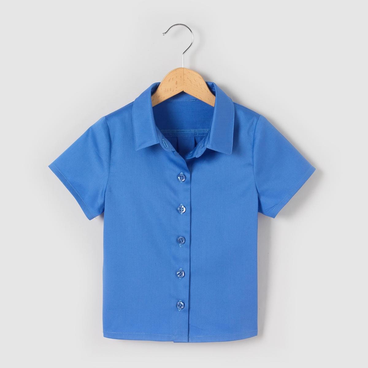 Рубашка с короткими рукавами для 3-12 летРубашка с короткими рукавами . 97 % хлопка, 3% эластана. На пуговицах спереди . Рубашечный воротник .<br><br>Цвет: набивной рисунок,синий