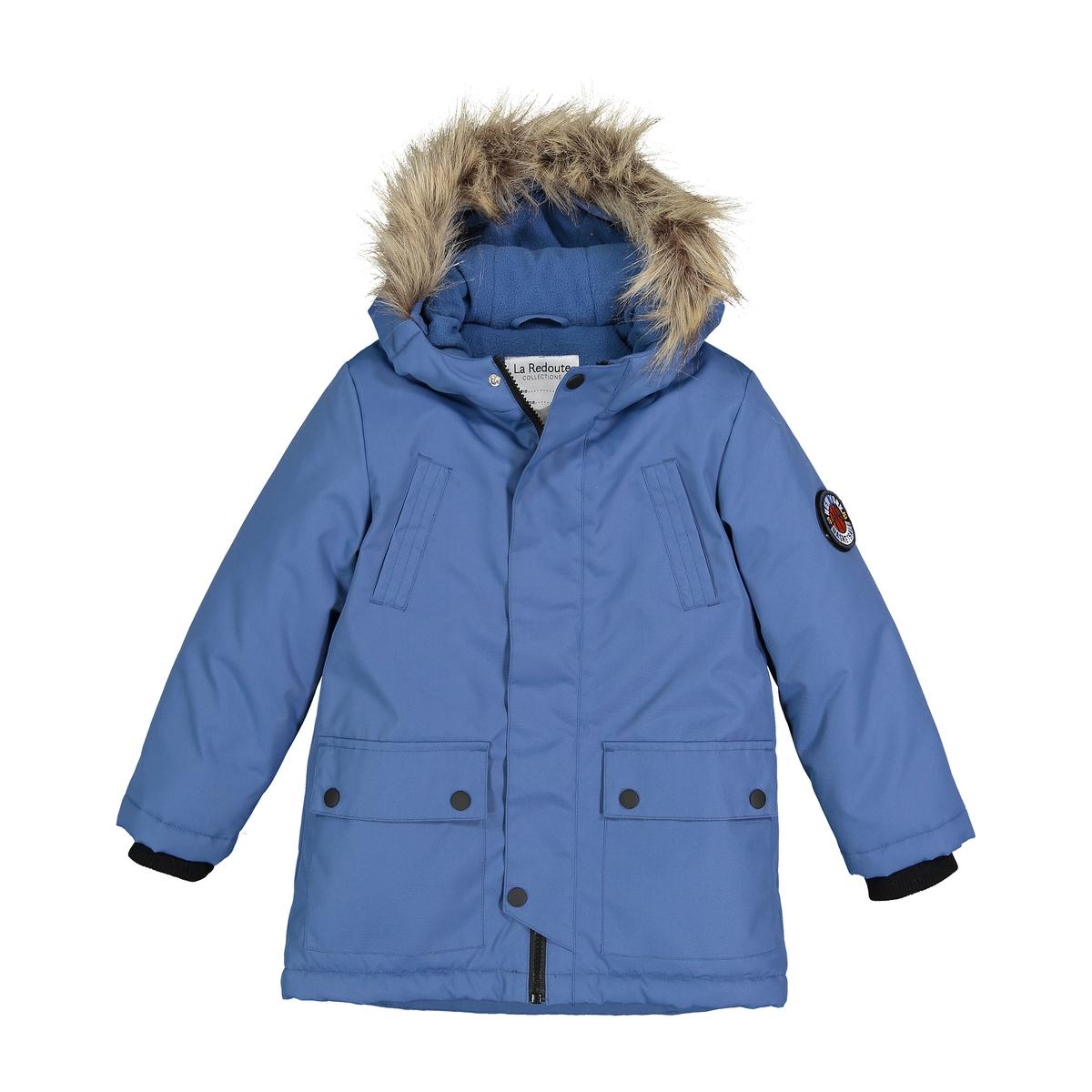 Парка La Redoute С капюшоном на флисовой подкладке 10 лет - 138 см синий цена 2017