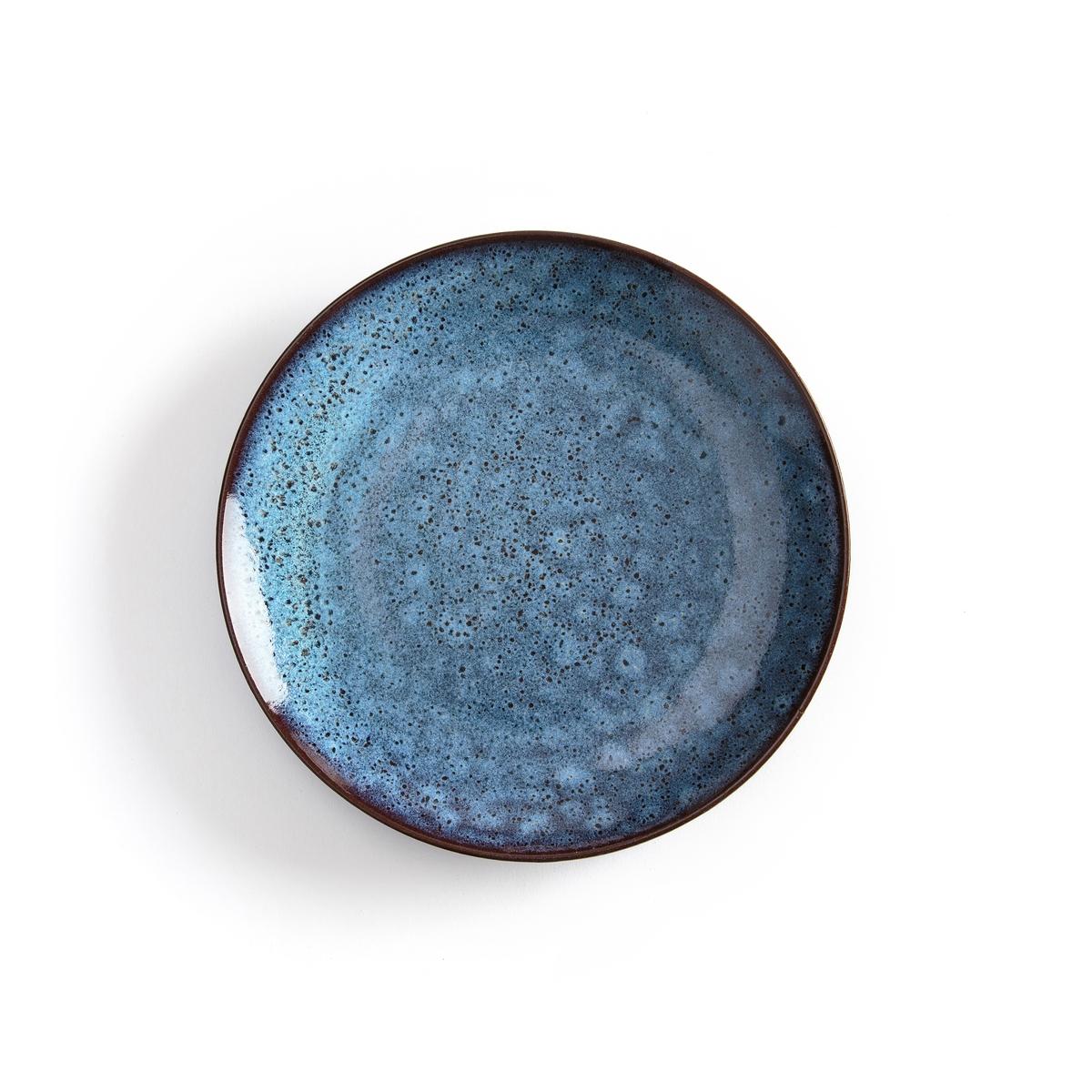 4 десертные тарелки из керамики, Pesgira4 десертные тарелки из керамики Pesgira . Очень красивый отражающий эффект, приддающий неоднородную поверхность тарелке  . Из эмалированной керамики . Ручная работа, каждое блюдо уникально. Подходит для мытья в посудомоечной машине. Размеры : ?22 x H2 см .<br><br>Цвет: каштановый / синий<br>Размер: единый размер