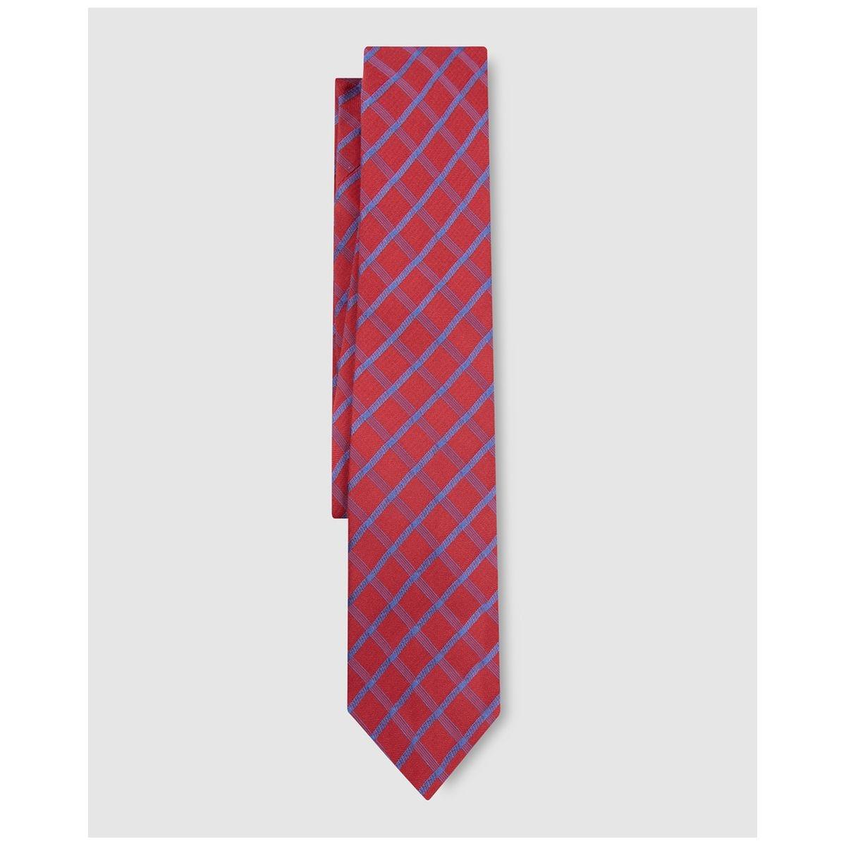 Cravate en soie à carreaux