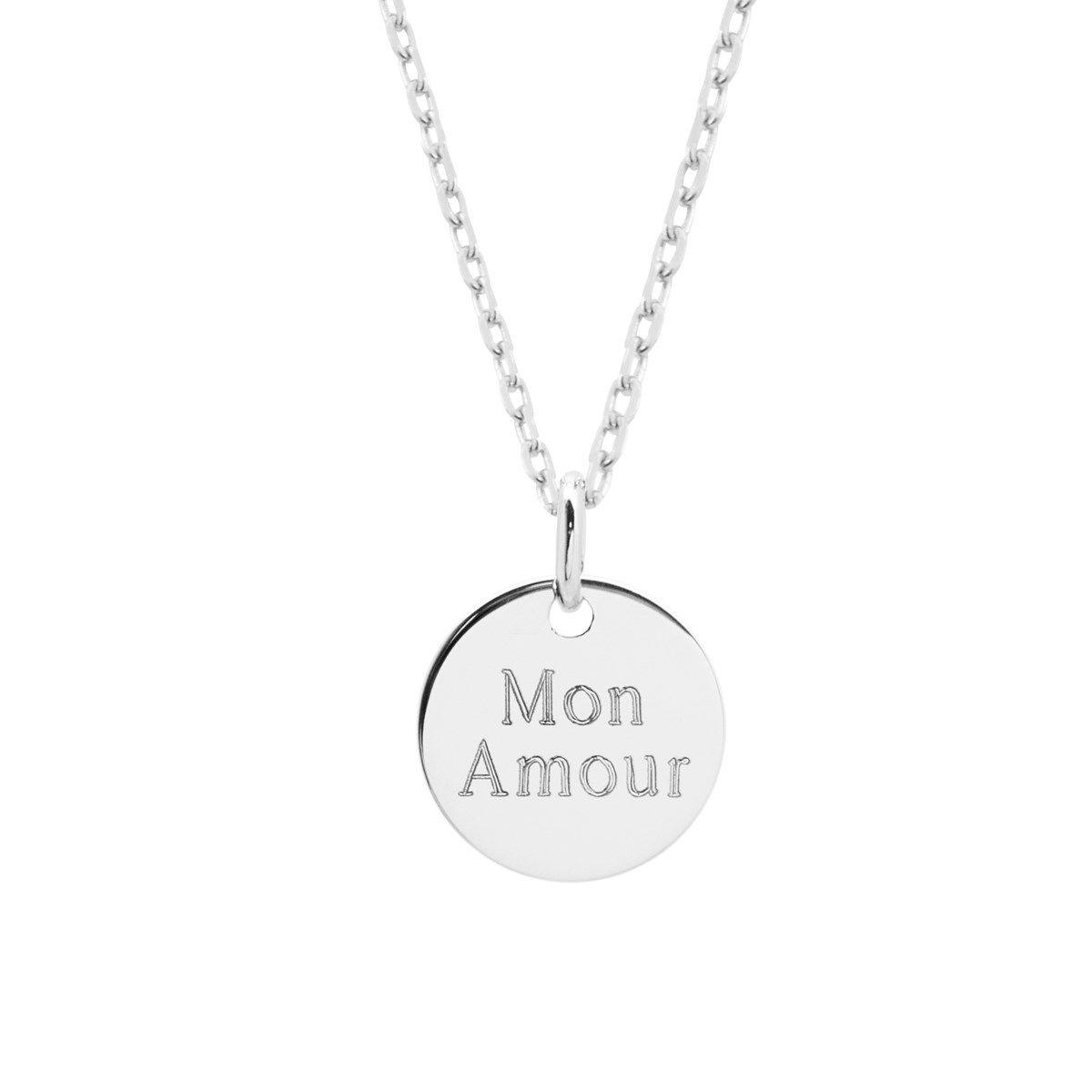Collier médaille argent 925 gravure MON AMOUR