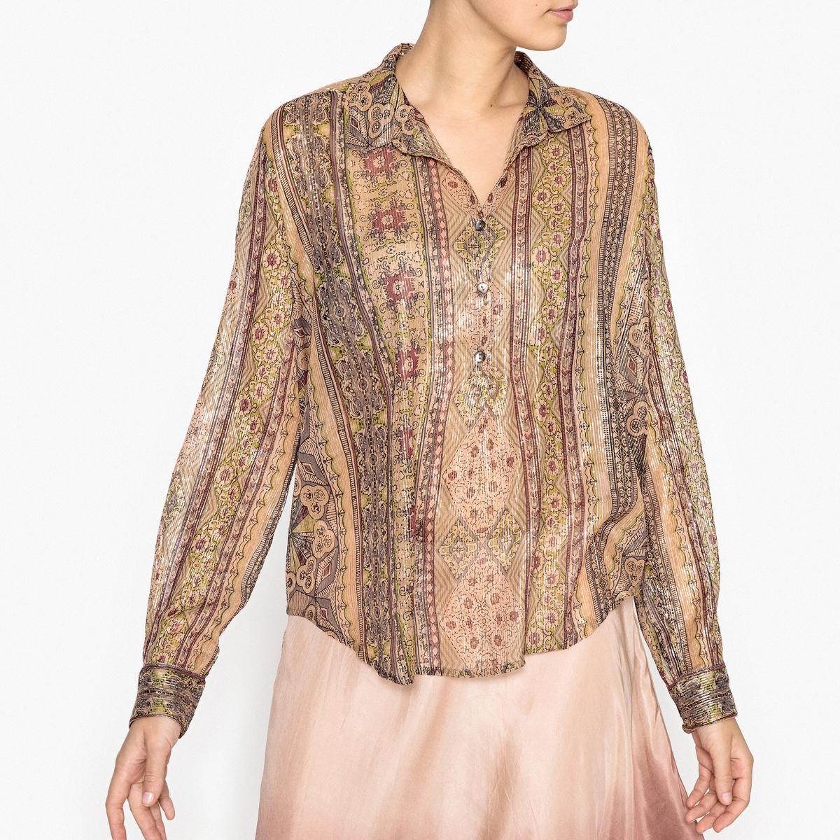 Рубашка блестящая с рисунком ALEISKРубашка полупрозрачная с рисунком MES DEMOISELLES - модель ALEISK из тонкого блестящего трикотажа с закругленным низом и манжетами на пуговицах.Детали •  Длинные рукава  •  Покрой бойфренд, свободный •  Воротник-поло, рубашечный  •  Рисунок-принтСостав и уход •  95% вискозы, 5% металлизированных волокон •  Следуйте советам по уходу, указанным на этикетке<br><br>Цвет: набивной рисунок