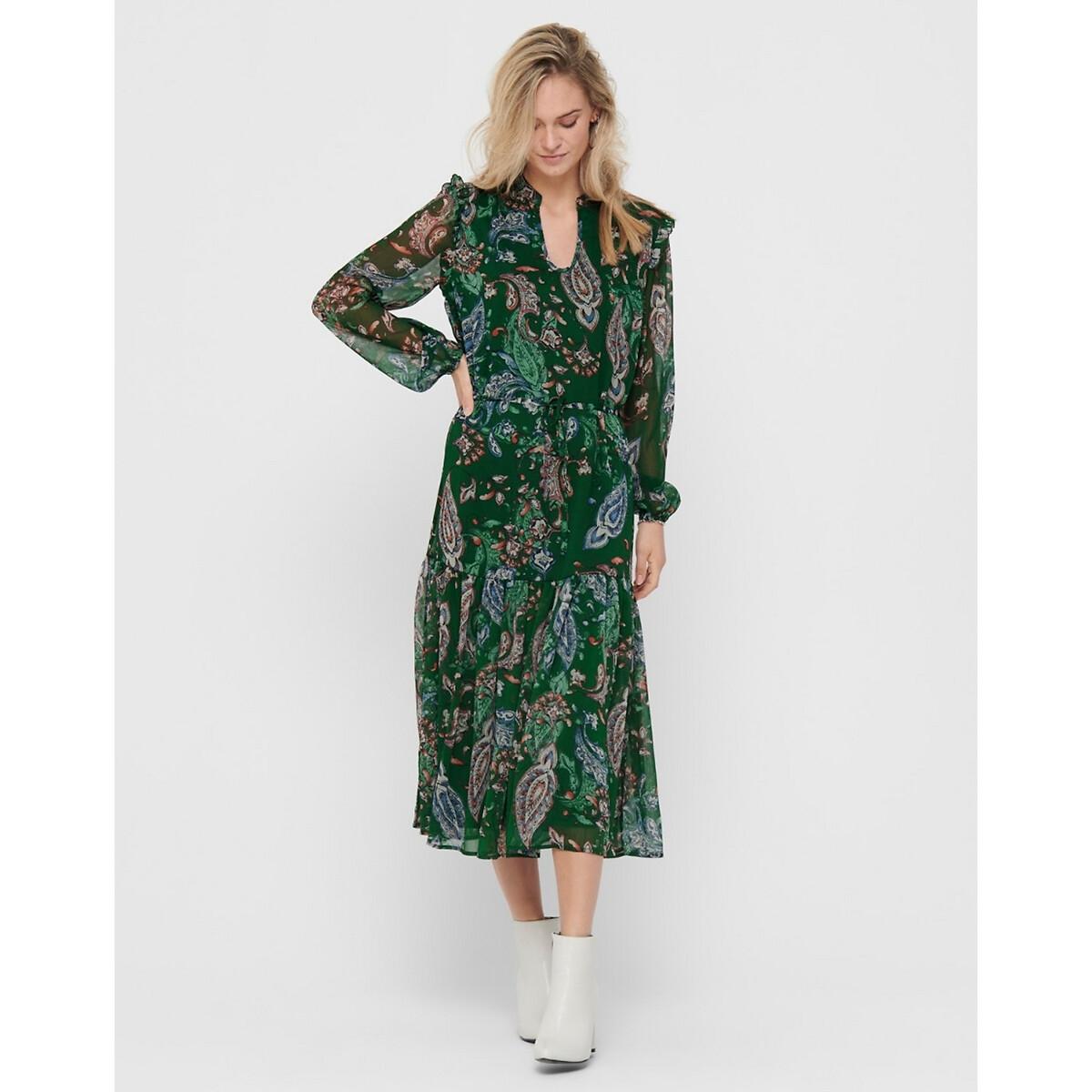Платье La Redoute Длинное с воротником-стойкой 34 (FR) - 40 (RUS) зеленый платье la redoute длинное без рукавов с застежкой на пуговицы спереди 42 fr 48 rus зеленый