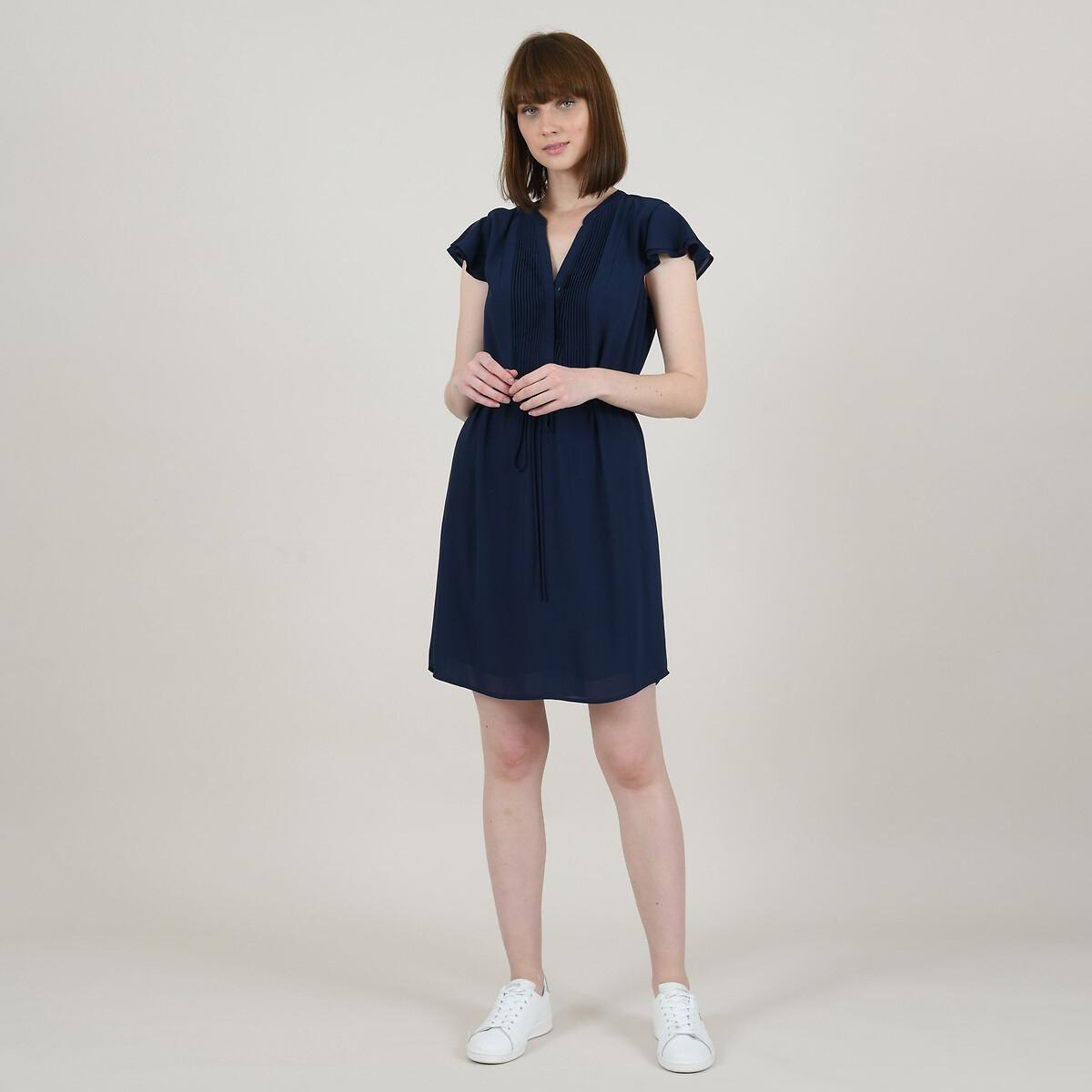 Платье La Redoute Короткое с бантом на поясе и воланами XS синий