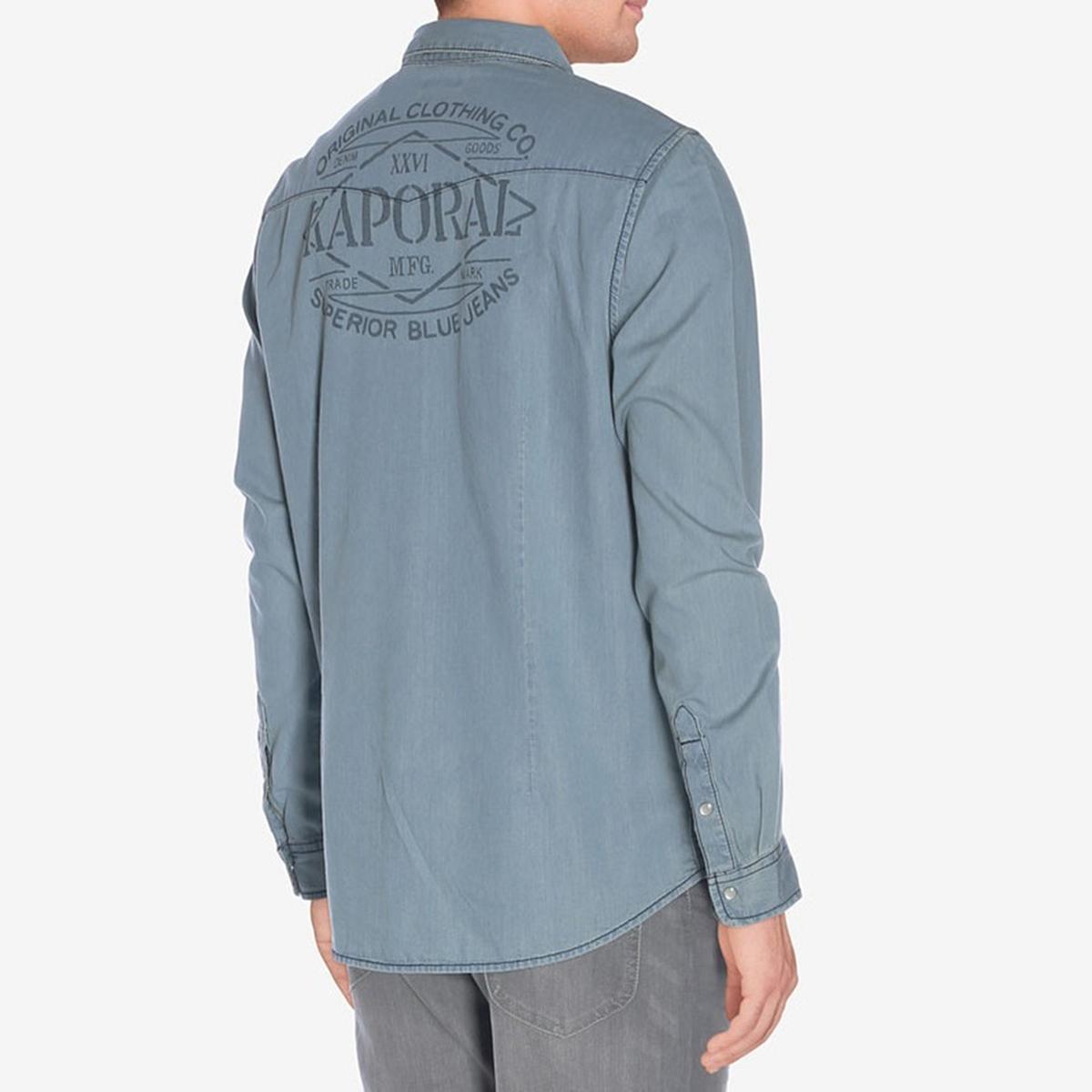 Рубашка с рисунком сзади TORYOРубашка с длинными рукавами. 2 нагрудных кармана. Логотип сзади.Состав и описание :Материал         100% хлопокМарка         KAPORALУход :Машинная стирка при 30 °С с вещами схожих цветовСтирать и гладить с изнаночной стороныГладить при умеренной температуре<br><br>Цвет: синий джинсовый<br>Размер: M