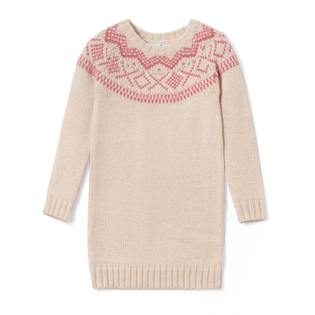 Платье-пуловер из жаккардовой ткани, 3-12 лет