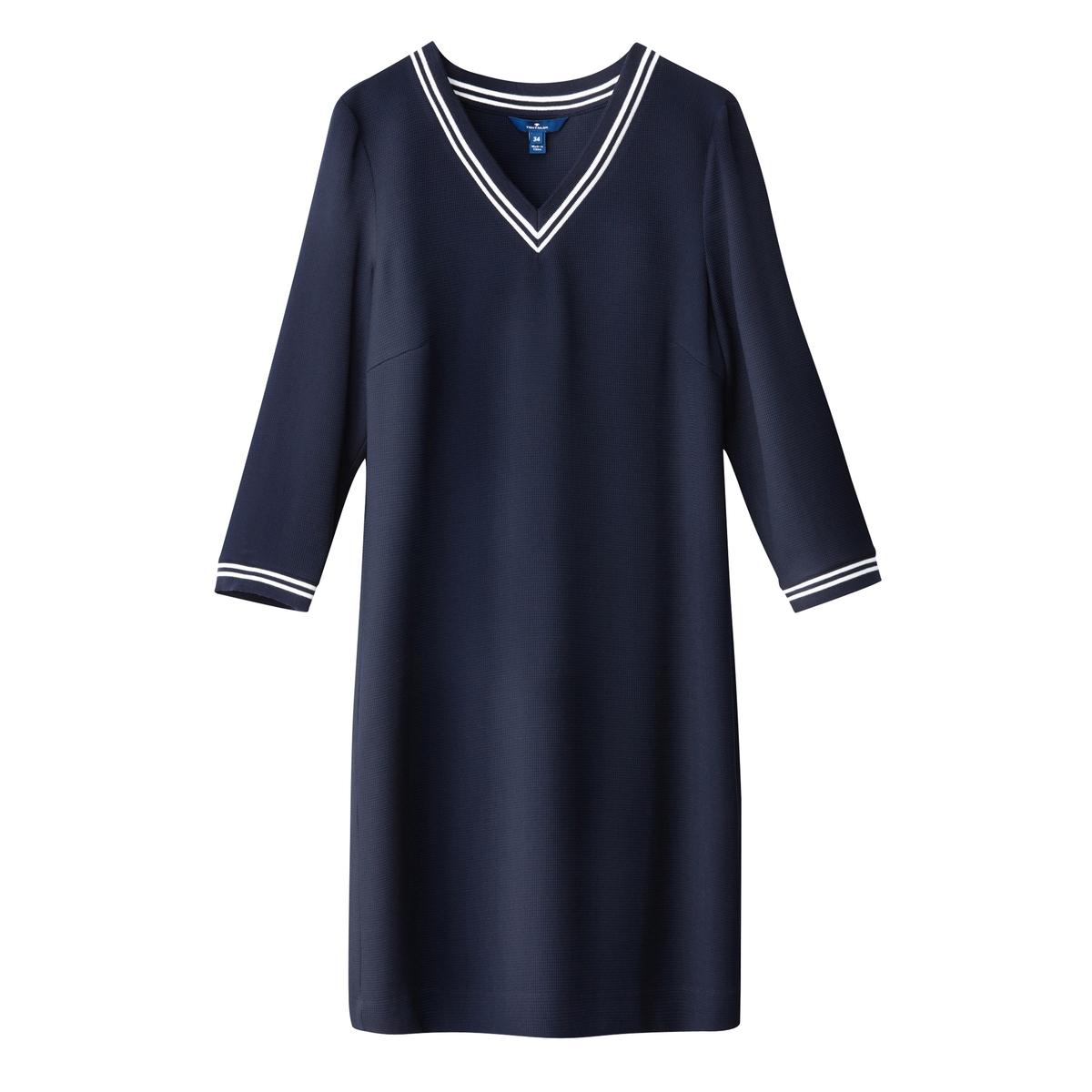 Платье теннисное с рукавами 3/4Материал : 49% вискозы, 3% эластана, 48% полиэстера Длина рукава : Рукава 3/4  Форма воротника : V-образный вырез Покрой платья : укороченный Рисунок : Однотонная модель   Длина платья : короткое.<br><br>Цвет: темно-синий
