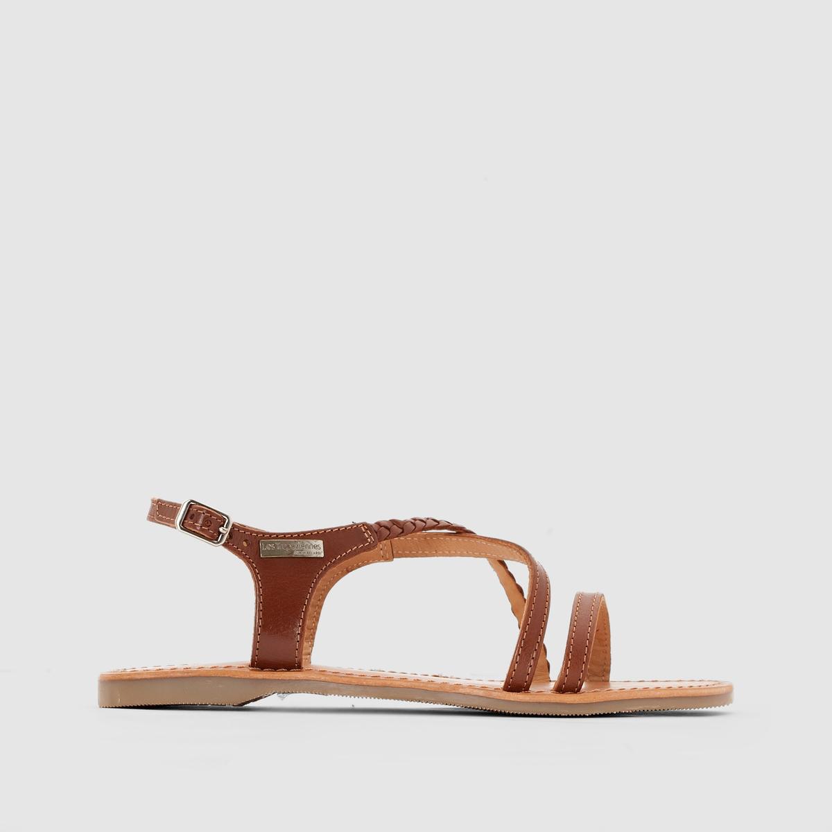 Босоножки кожаные на плоском каблуке HananoВерх : кожа   Подкладка : кожа   Стелька : кожа   Подошва : синтетика   Форма каблука : плоский каблук   Мысок : закругленный мысок   Застежка : пряжка<br><br>Цвет: темно-коричневый<br>Размер: 38