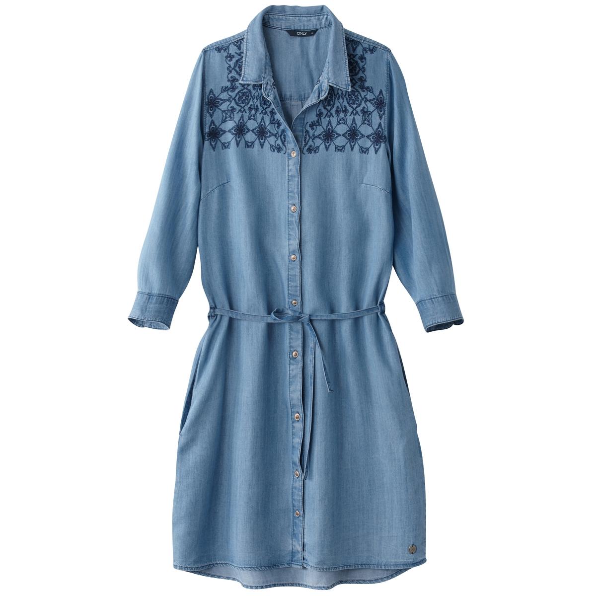 Платье из денима с вышивкой и длинными рукавамиМатериал : 100% лиоцелл  Длина рукава : Длинные рукава  Форма воротника : воротник-поло, рубашечный. Покрой платья : платье прямого покроя  Рисунок : Однотонная модель   Длина платья : до колен<br><br>Цвет: синий потертый