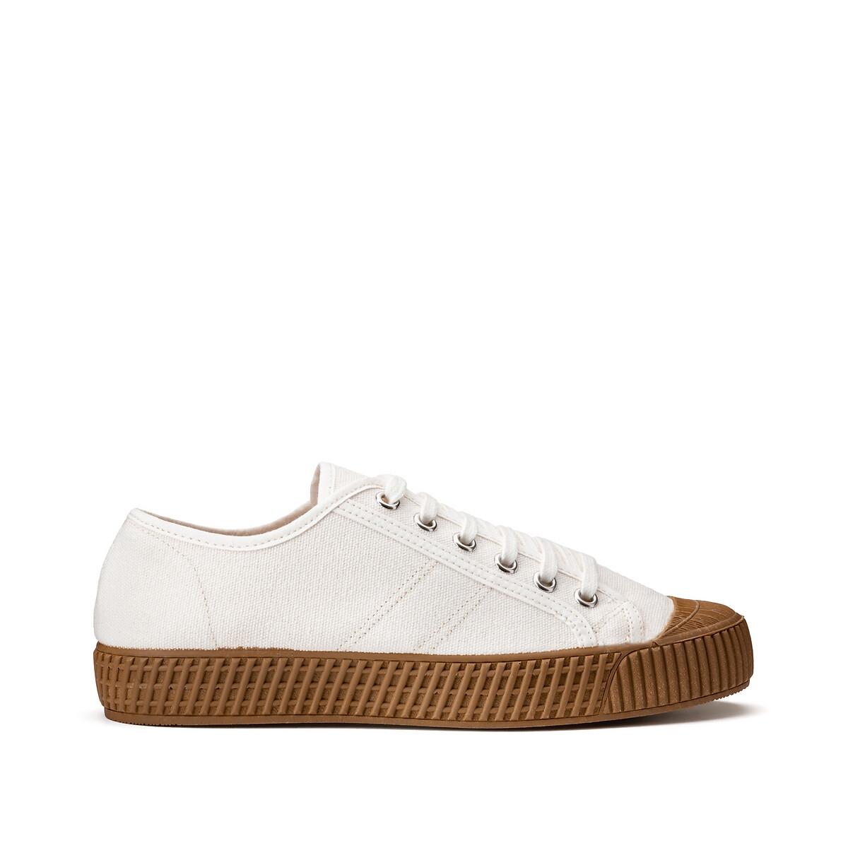 кеды низкие на шнуровке из спилка Кеды LaRedoute Высокие тканевые на шнуровке 37 белый
