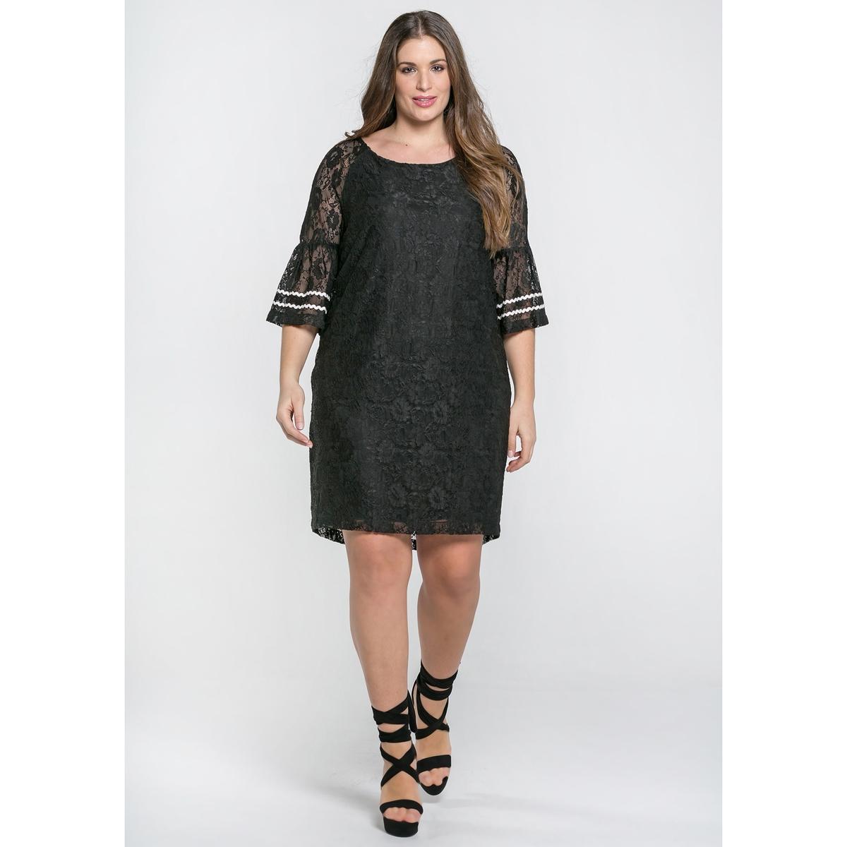 Платье кружевное с короткими рукавами
