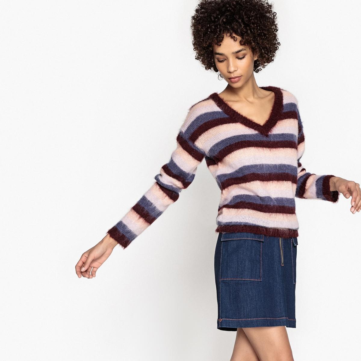 Пуловер La Redoute Из тонкого трикотажа с V-образным вырезом S разноцветный пуловер la redoute с v образным вырезом из тонкого трикотажа s черный