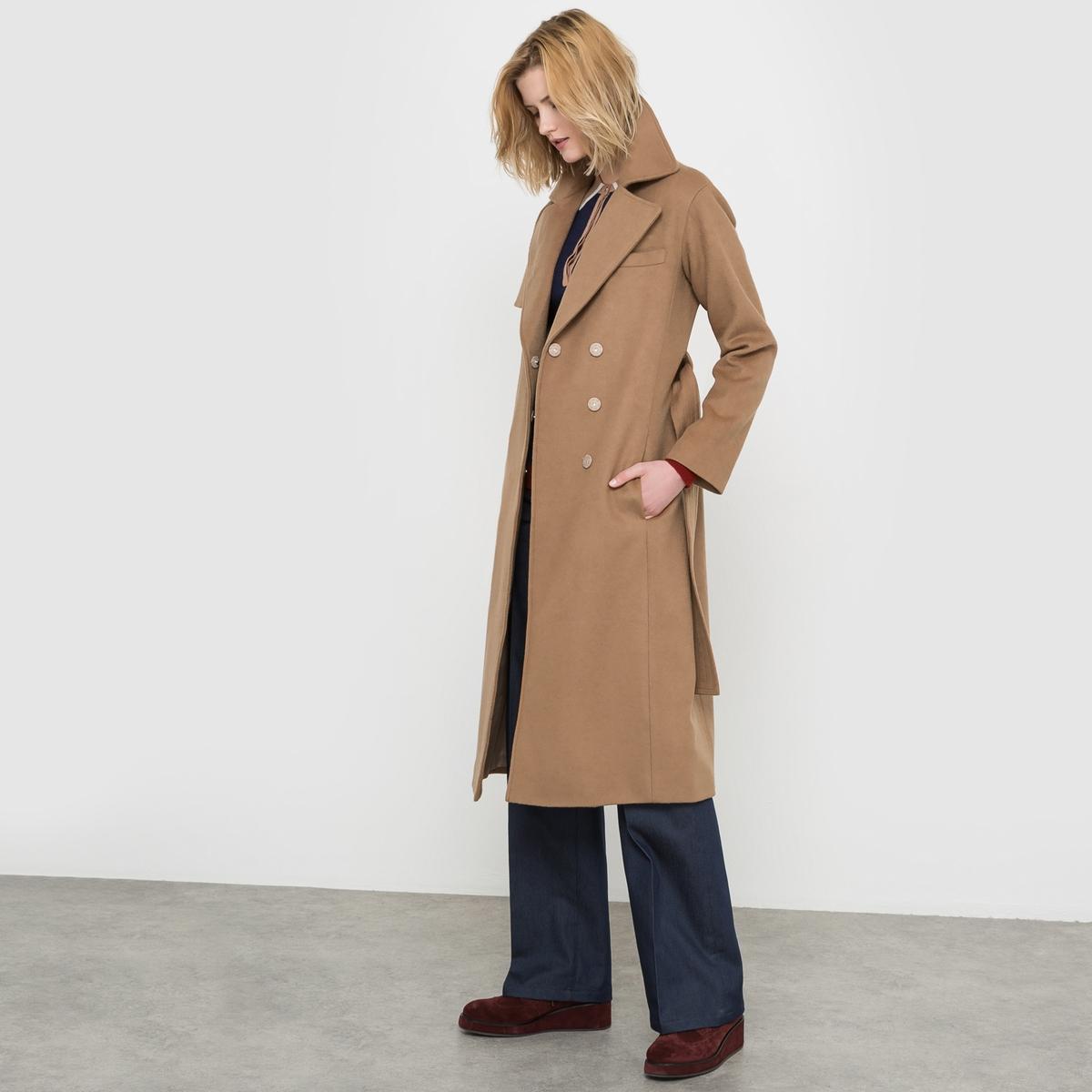 Пальто длинное из шерстяного драпа, 63% шерсти драповое длинное пальто из шерсти claudius