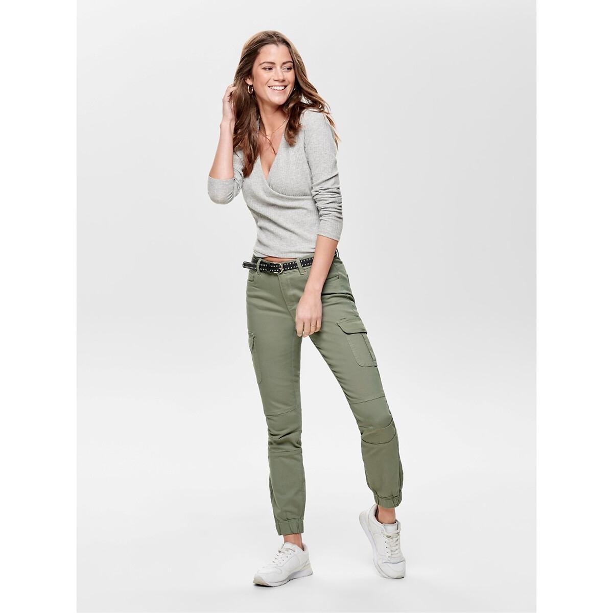 Брюки-карго La Redoute Узкие длина 38 (FR) - 44 (RUS) зеленый джинсы la redoute узкие для периода беременности 36 fr 42 rus серый