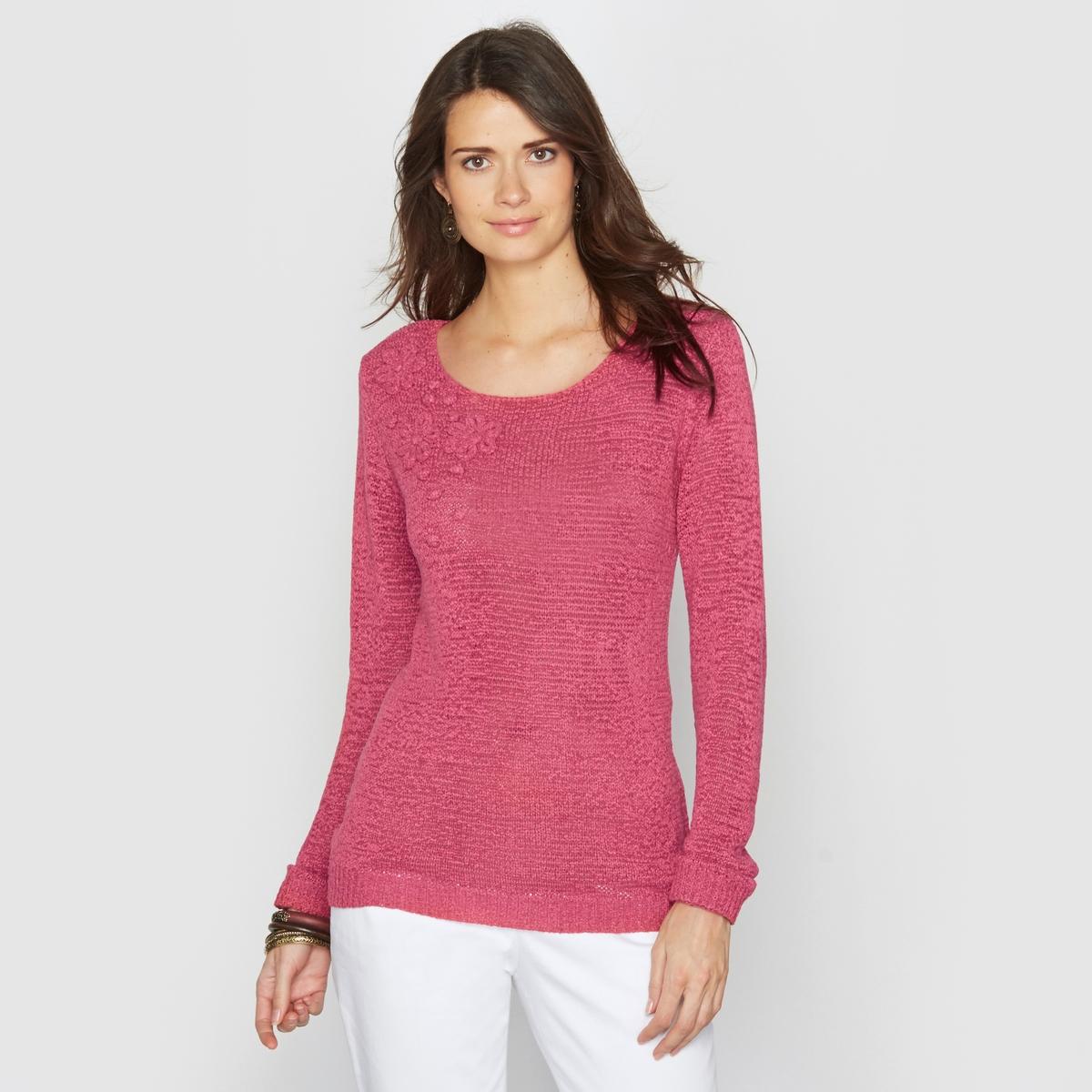 Пуловер из трикотажаПриятный в носке пуловер . Пуловер с круглым вырезом и аппликацией в виде цветов из трикотажа . Состав и описание :Материал : Трикотаж 75% акрила, 25% полиамида .Длина 62 см.Марка : Anne WeyburnУход :Машинная стирка при 30° в умеренном режиме .Гладить при умеренной температуре.<br><br>Цвет: экрю<br>Размер: 50/52 (FR) - 56/58 (RUS)